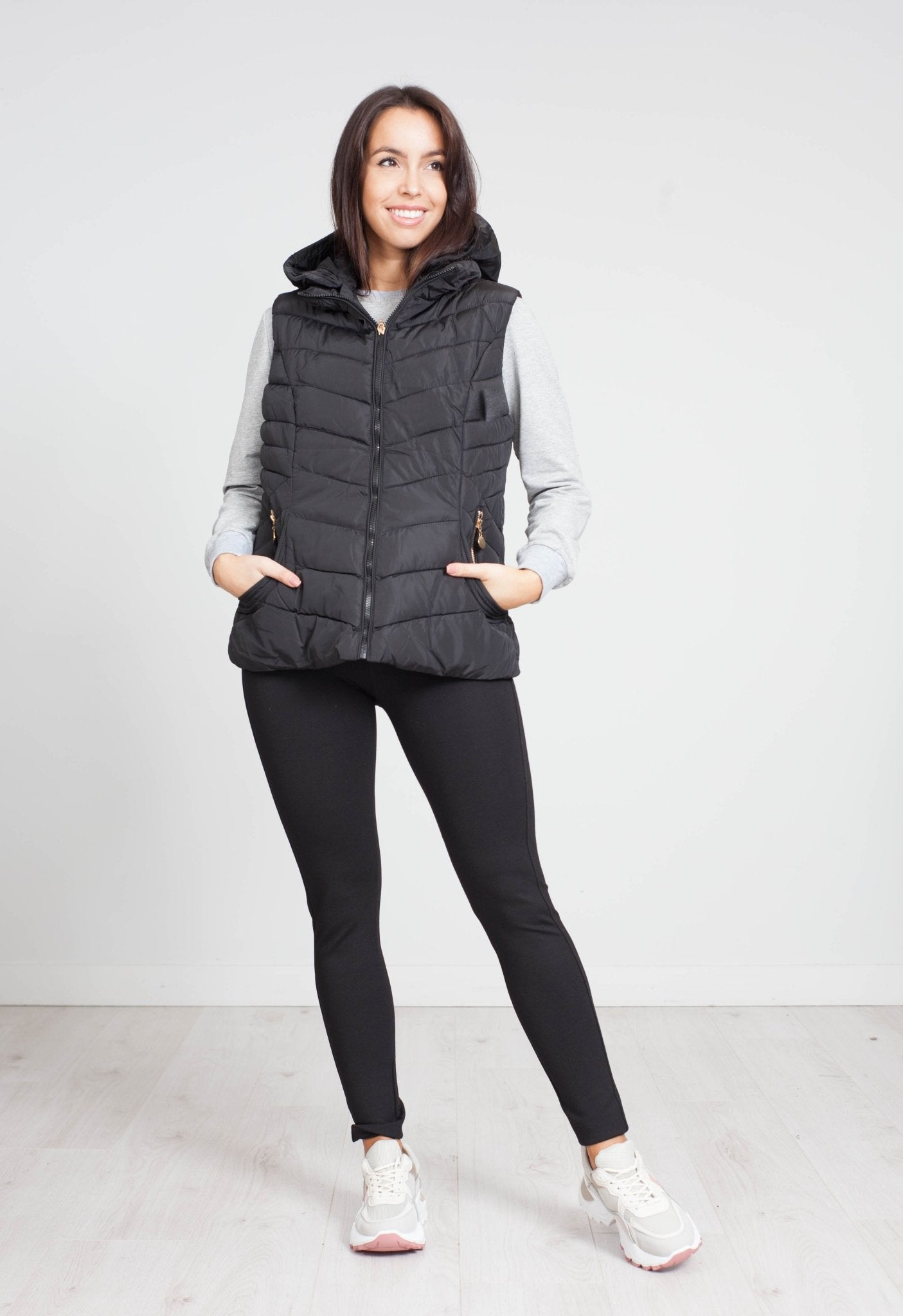 Sarah Hooded Gilet In Black - The Walk in Wardrobe