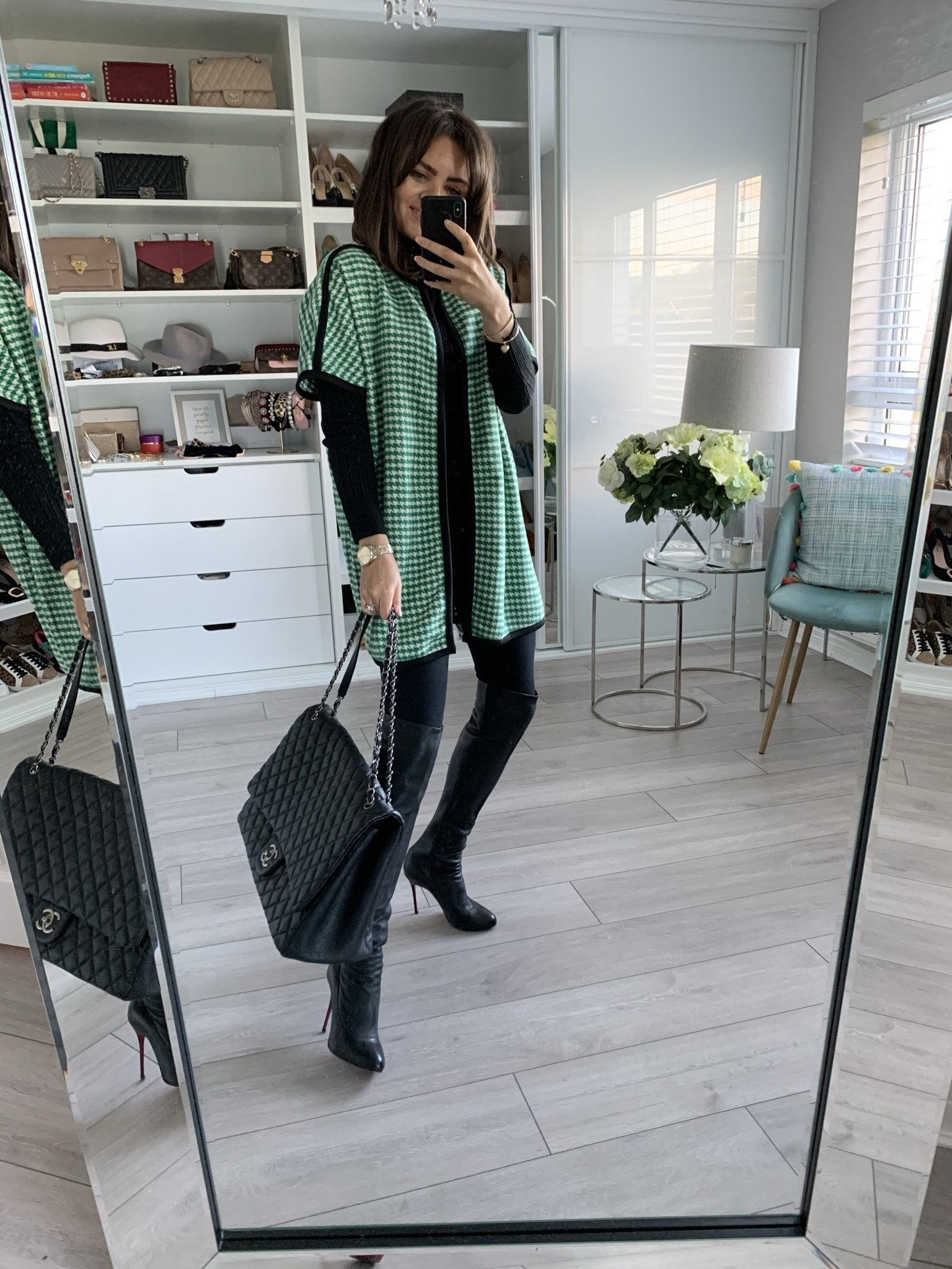 Sarah Houndstooth Cardigan In Green - The Walk in Wardrobe