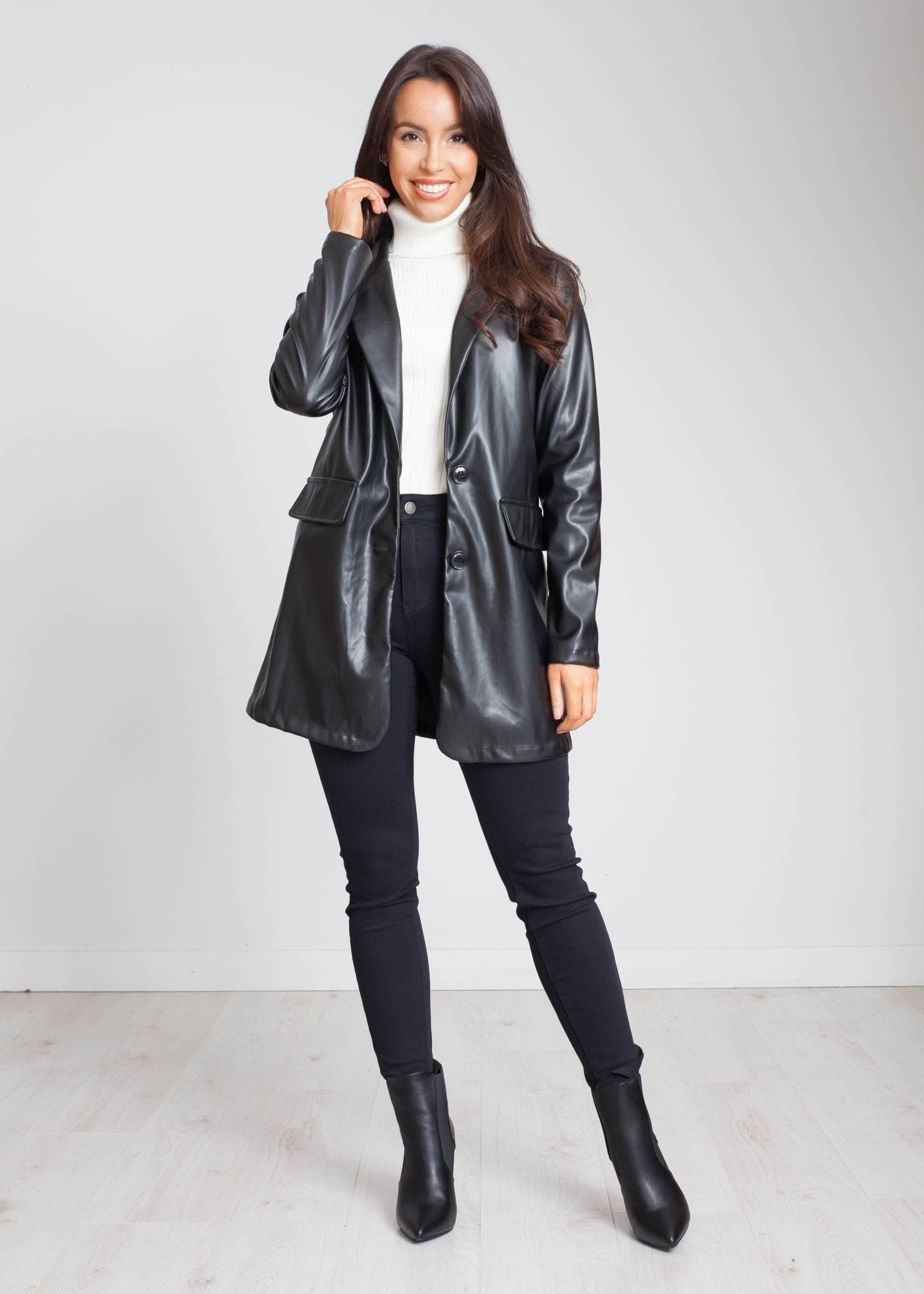 Sarah Leather Look Blazer In Black - The Walk in Wardrobe