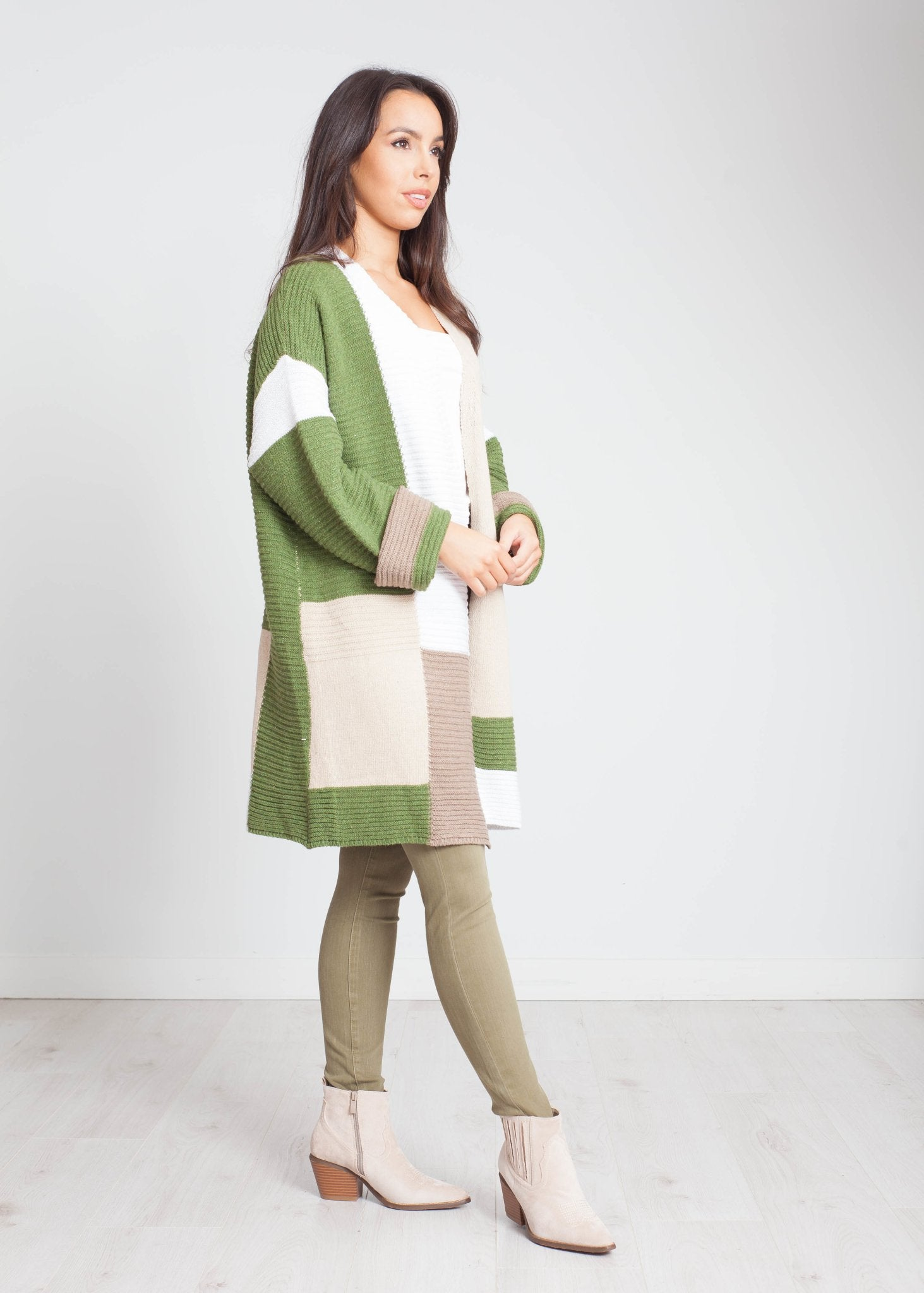 Sarah Patchwork Cardigan In Green Mix - The Walk in Wardrobe