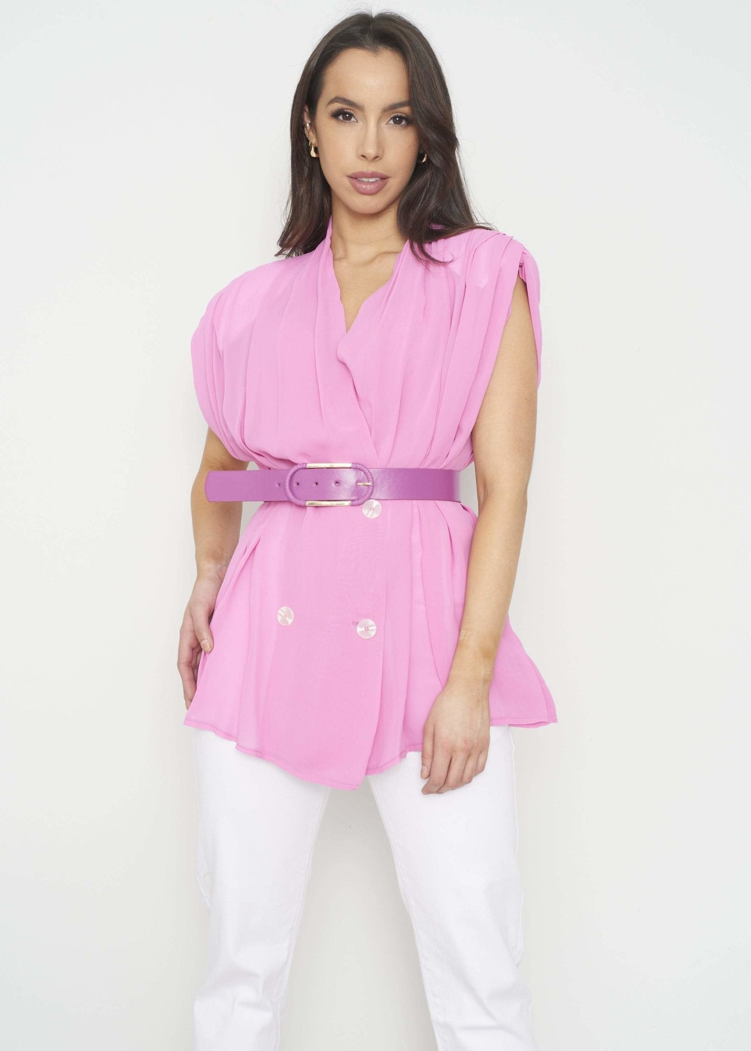 Savannah Belted Blouse In Pink - The Walk in Wardrobe