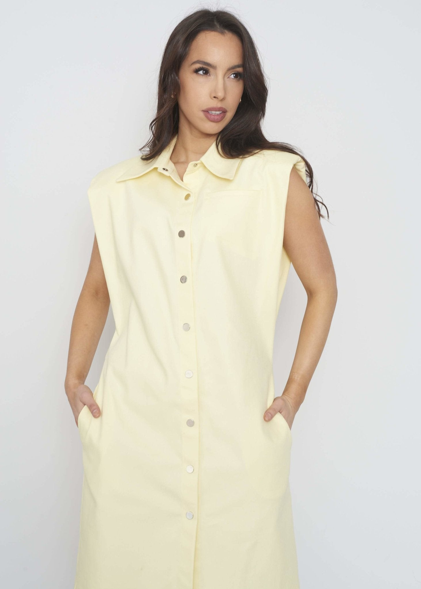 Savannah Denim Dress In Lemon - The Walk in Wardrobe