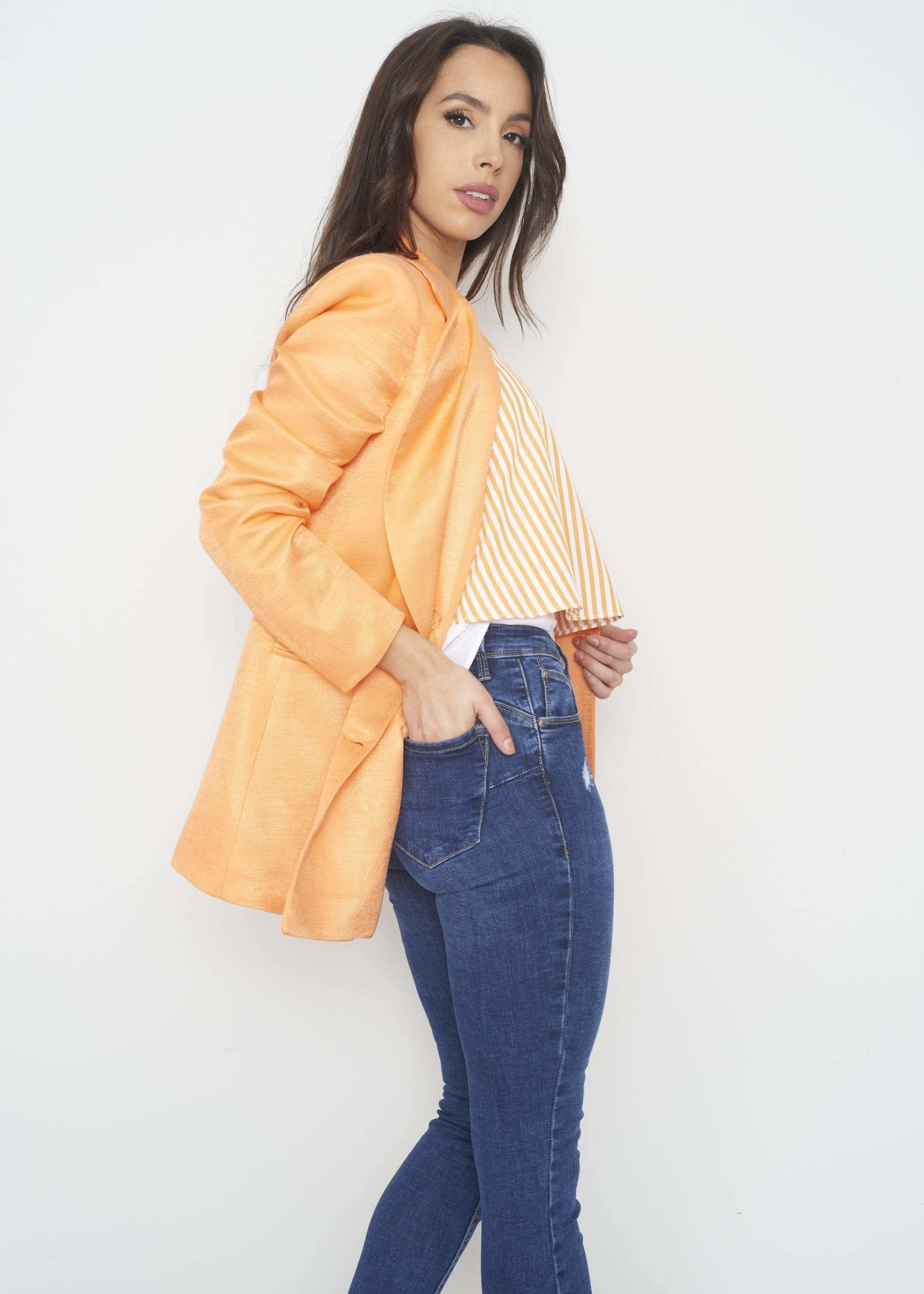 Savannah Linen Mix Blazer In Orange - The Walk in Wardrobe