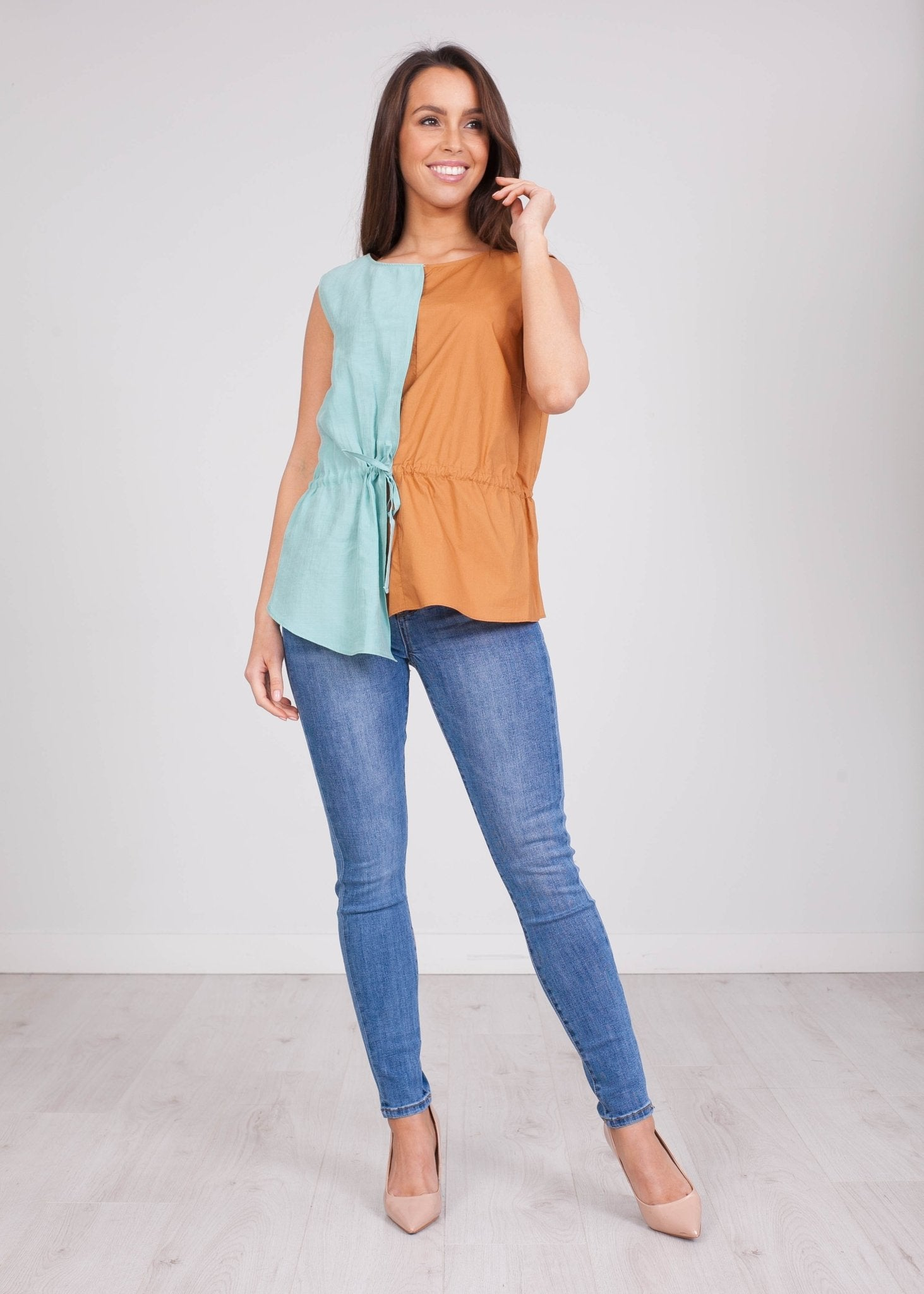 Savannah Mint & Tan Top - The Walk in Wardrobe