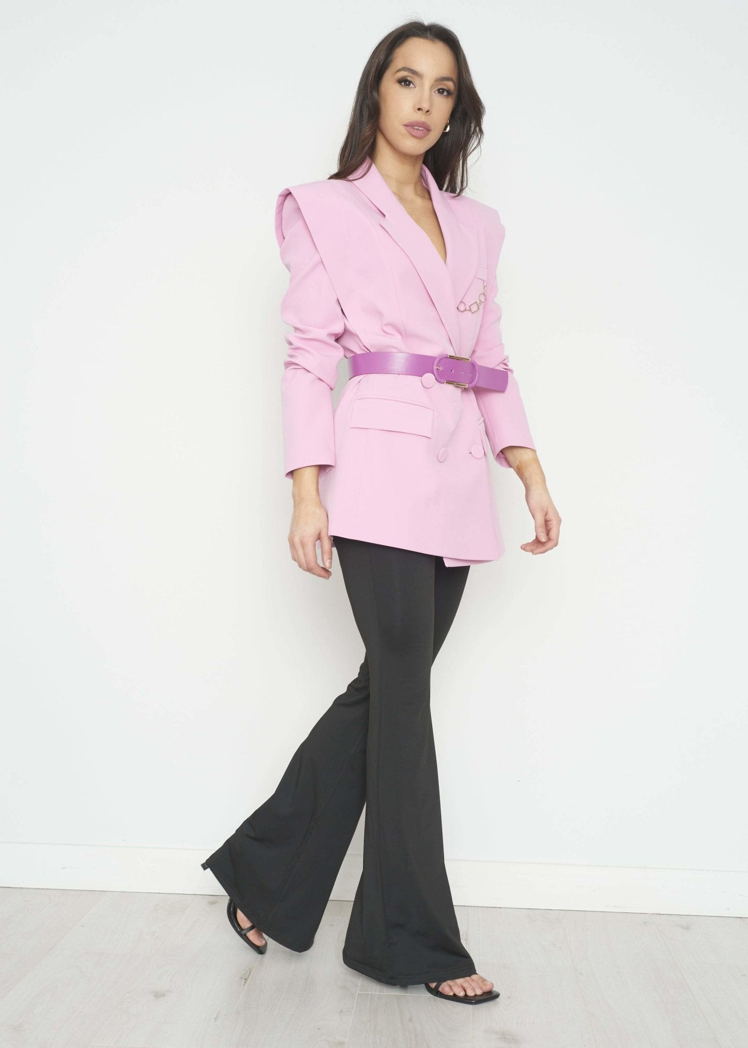 Savannah Shoulder Detail Blazer In Pink - The Walk in Wardrobe