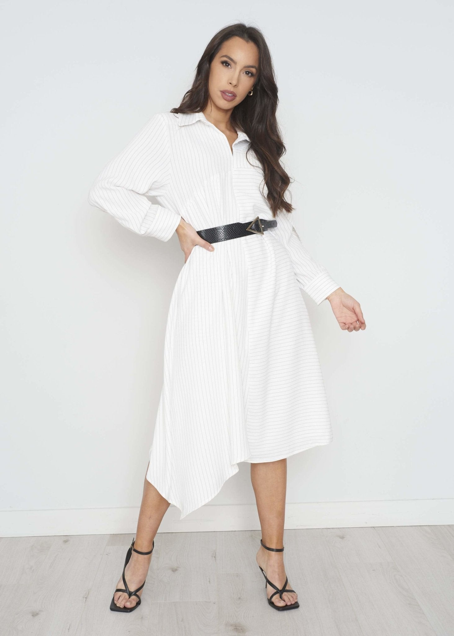 Savannah Stripe Shirt Dress In White - The Walk in Wardrobe