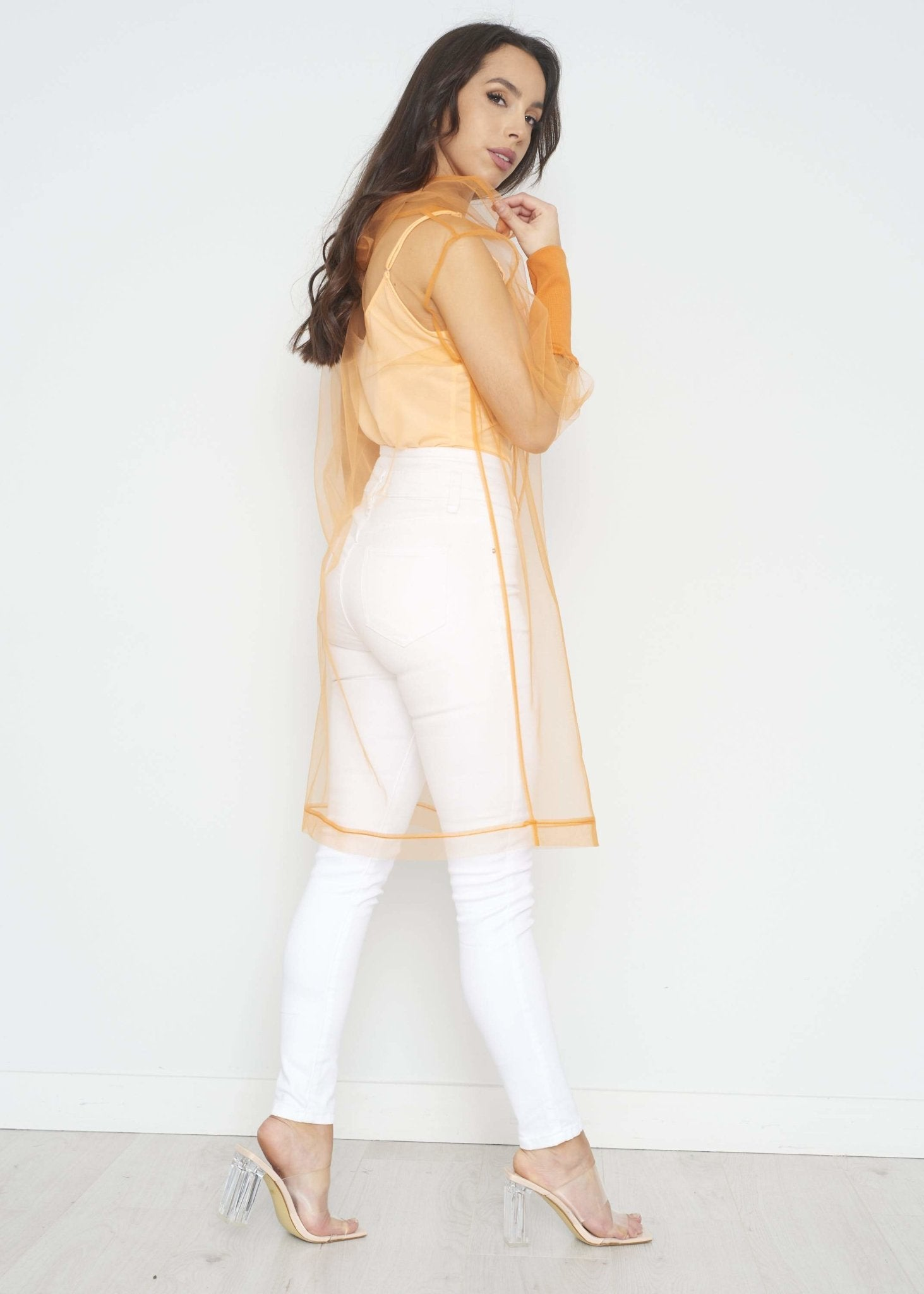 Savannah Tulle Hoodie In Orange - The Walk in Wardrobe