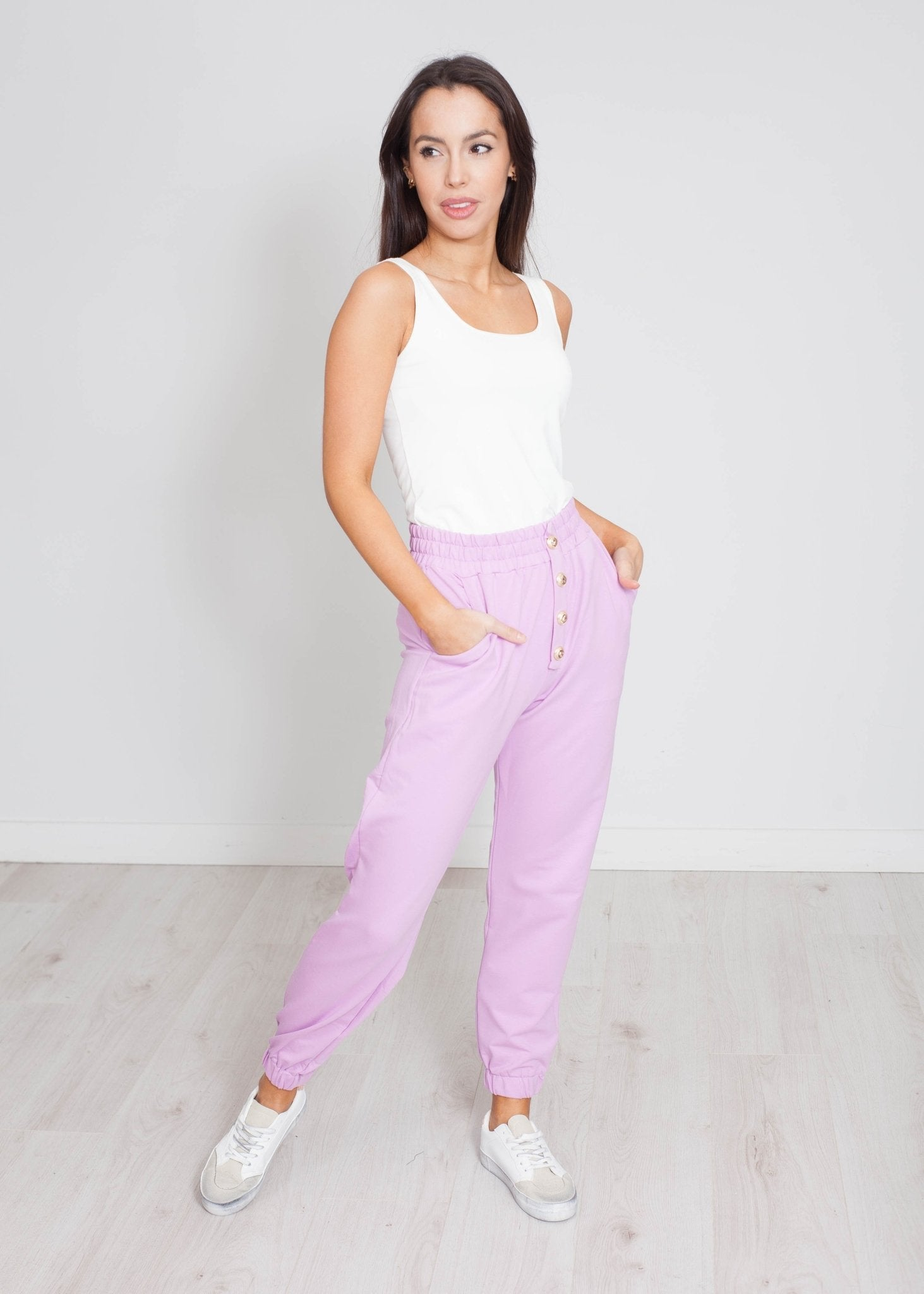 Scarlet Button Joggers In Lilac - The Walk in Wardrobe