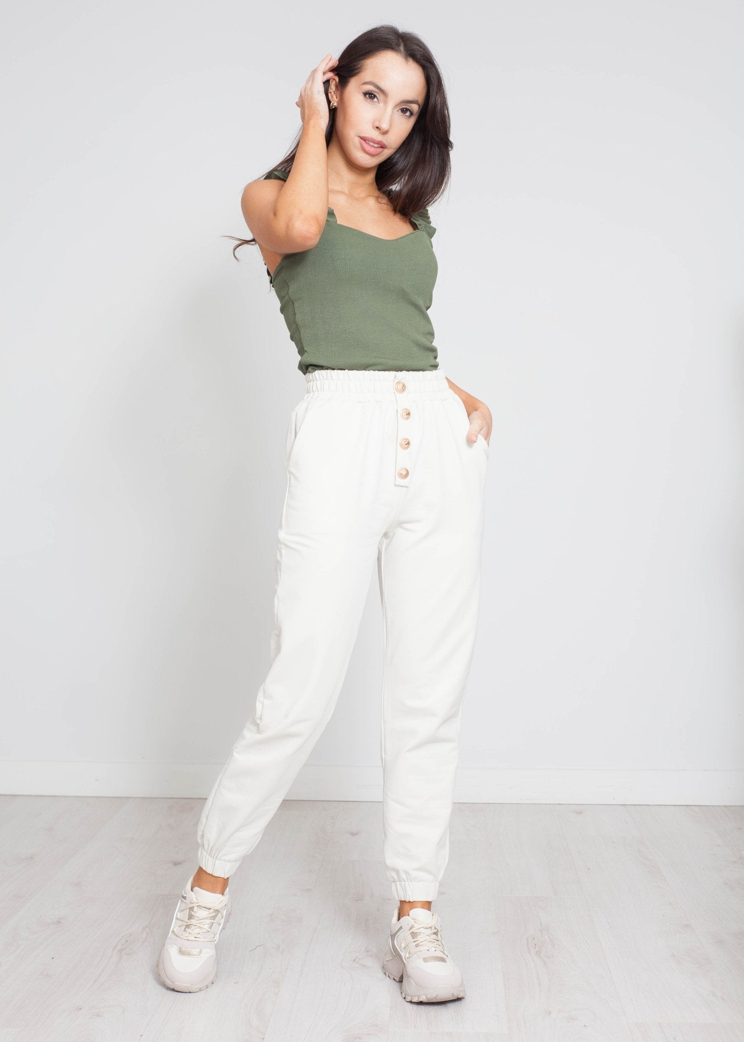 Scarlet Button Joggers In Stone - The Walk in Wardrobe