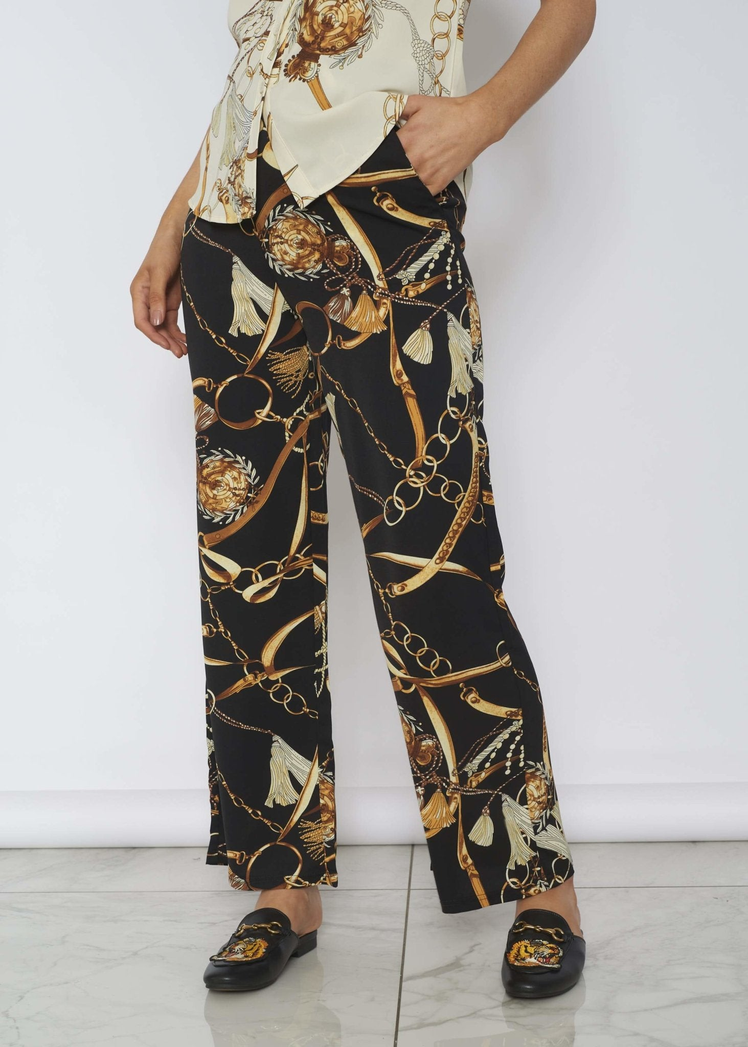 Scarlet Gold Print Trousers In Black - The Walk in Wardrobe