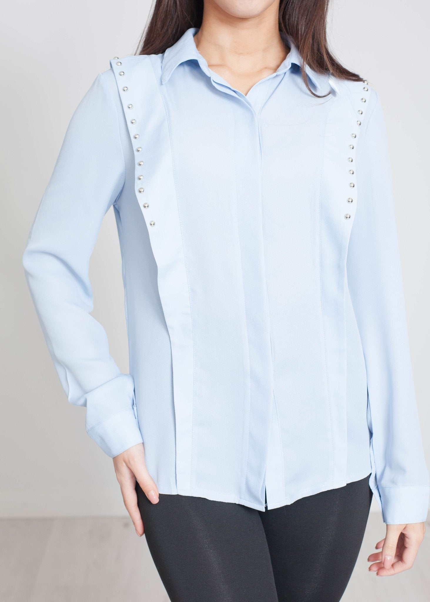 Scarlet Studded Shirt In Blue - The Walk in Wardrobe