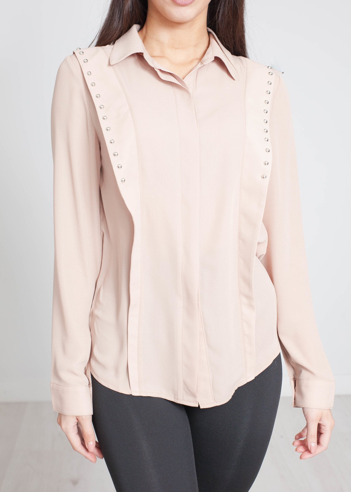 Scarlet Studded Shirt In Tan - The Walk in Wardrobe