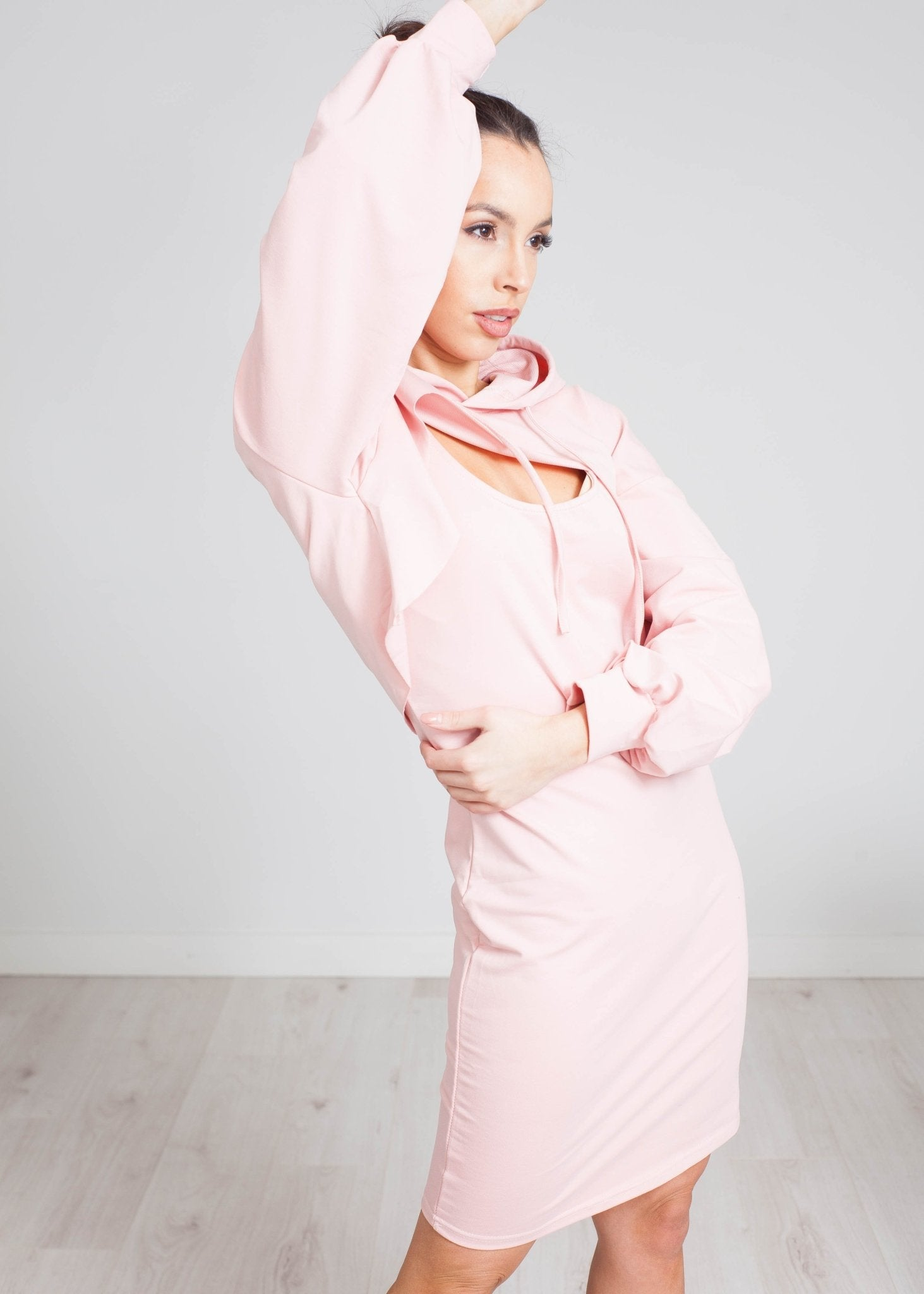 Scarlet Two Piece Hoodie Dress In Blush - The Walk in Wardrobe