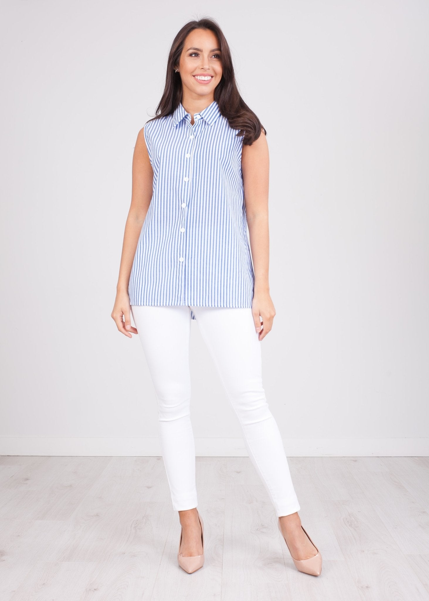 Sissy Blue Stripe Sleeveless Blouse - The Walk in Wardrobe