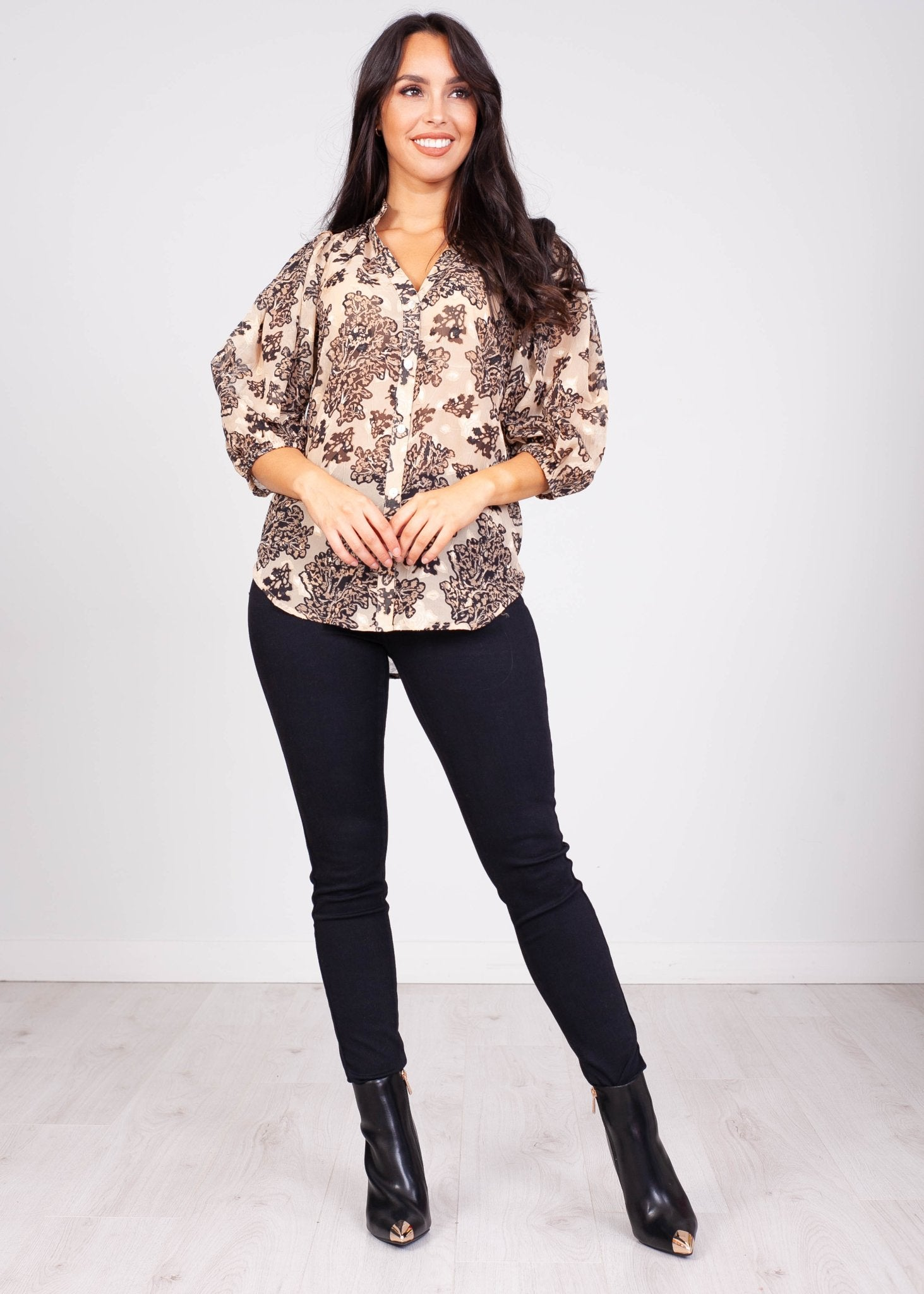 Sissy Bronze Printed Blouse - The Walk in Wardrobe