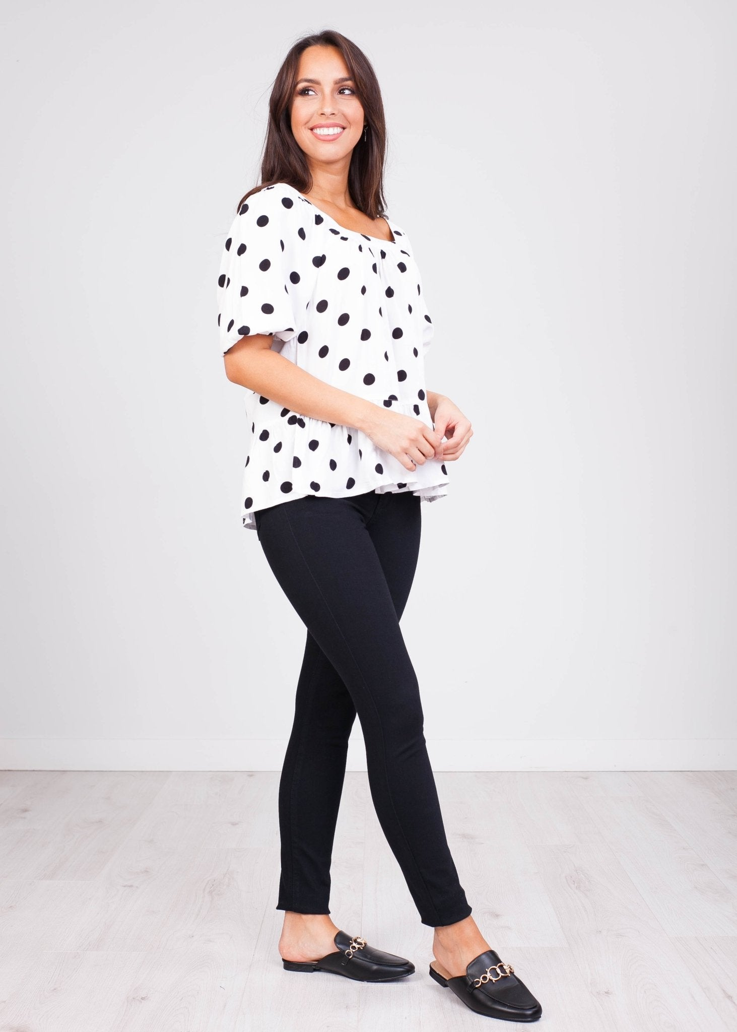 Sissy B&W Polka Dot Top - The Walk in Wardrobe
