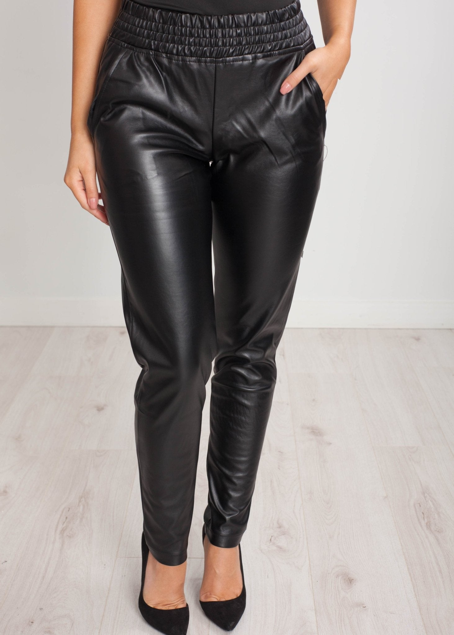 Sissy Faux Leather Jogger in Black - The Walk in Wardrobe