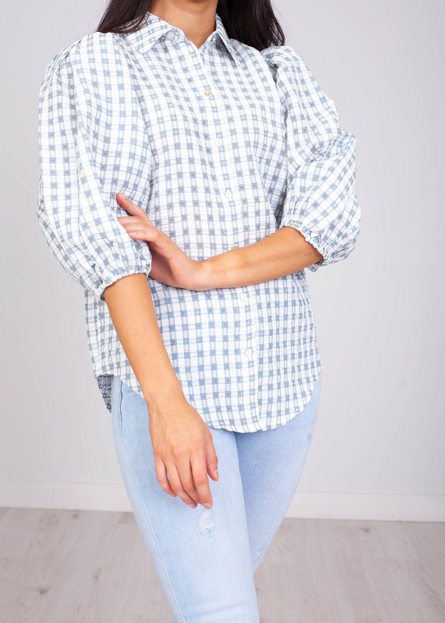 Sissy Gingham Puff Sleeve Blouse - The Walk in Wardrobe