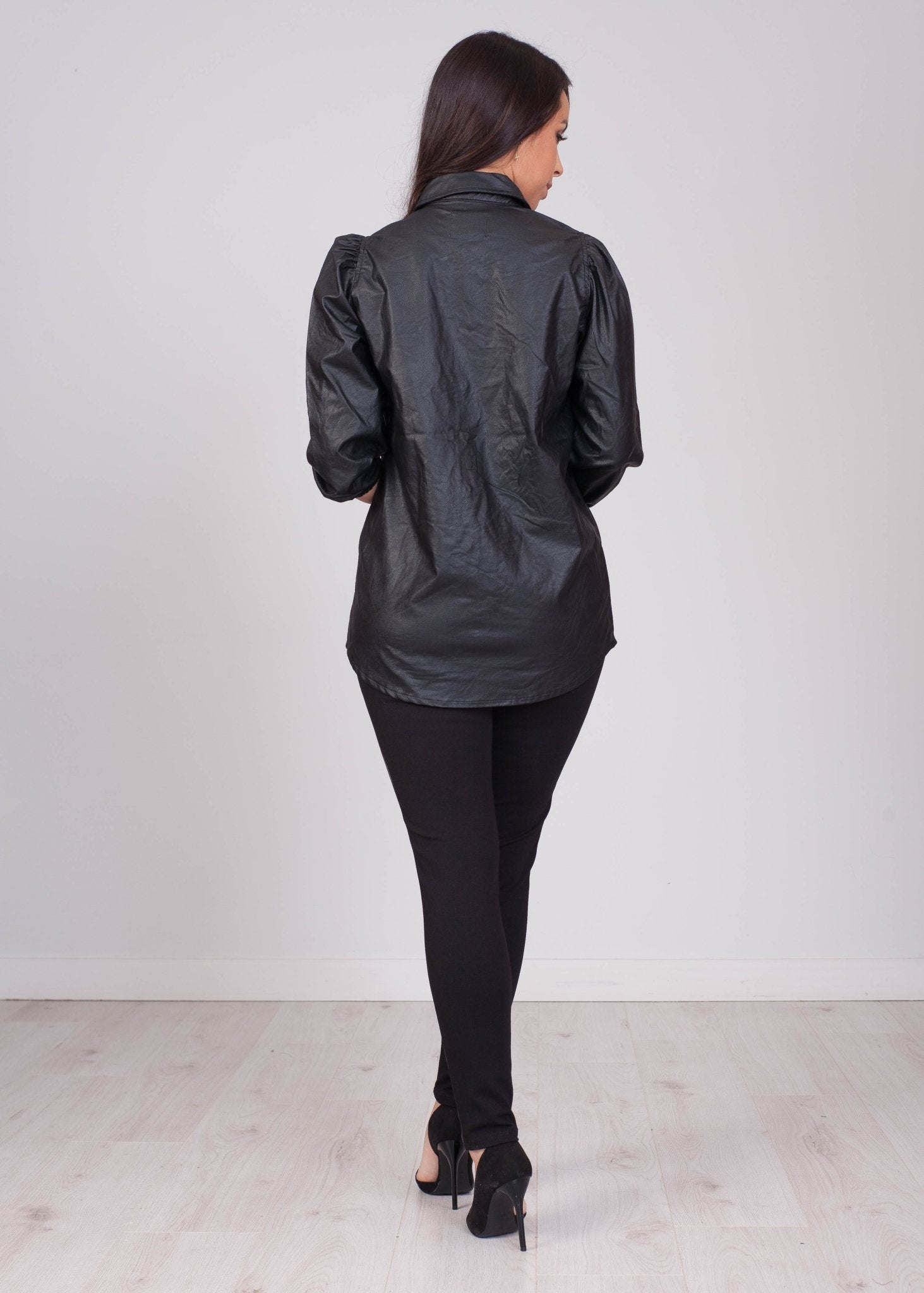 Sissy Leather Look Shirt In Black - The Walk in Wardrobe