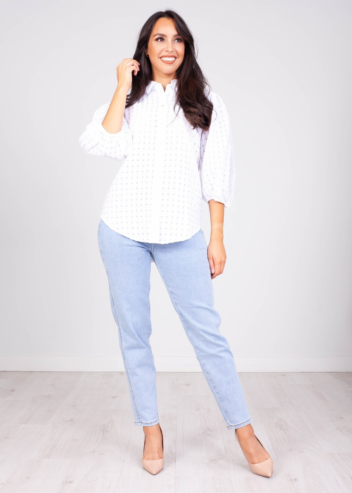 Sissy White Check Puff Sleeve Blouse - The Walk in Wardrobe