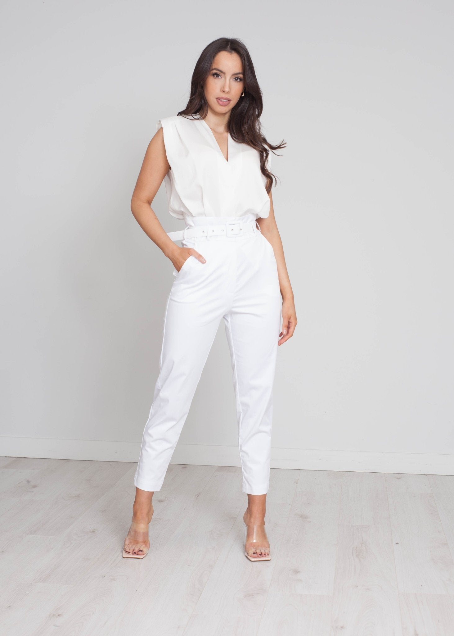 Sophia Belted Jumpsuit In White - The Walk in Wardrobe
