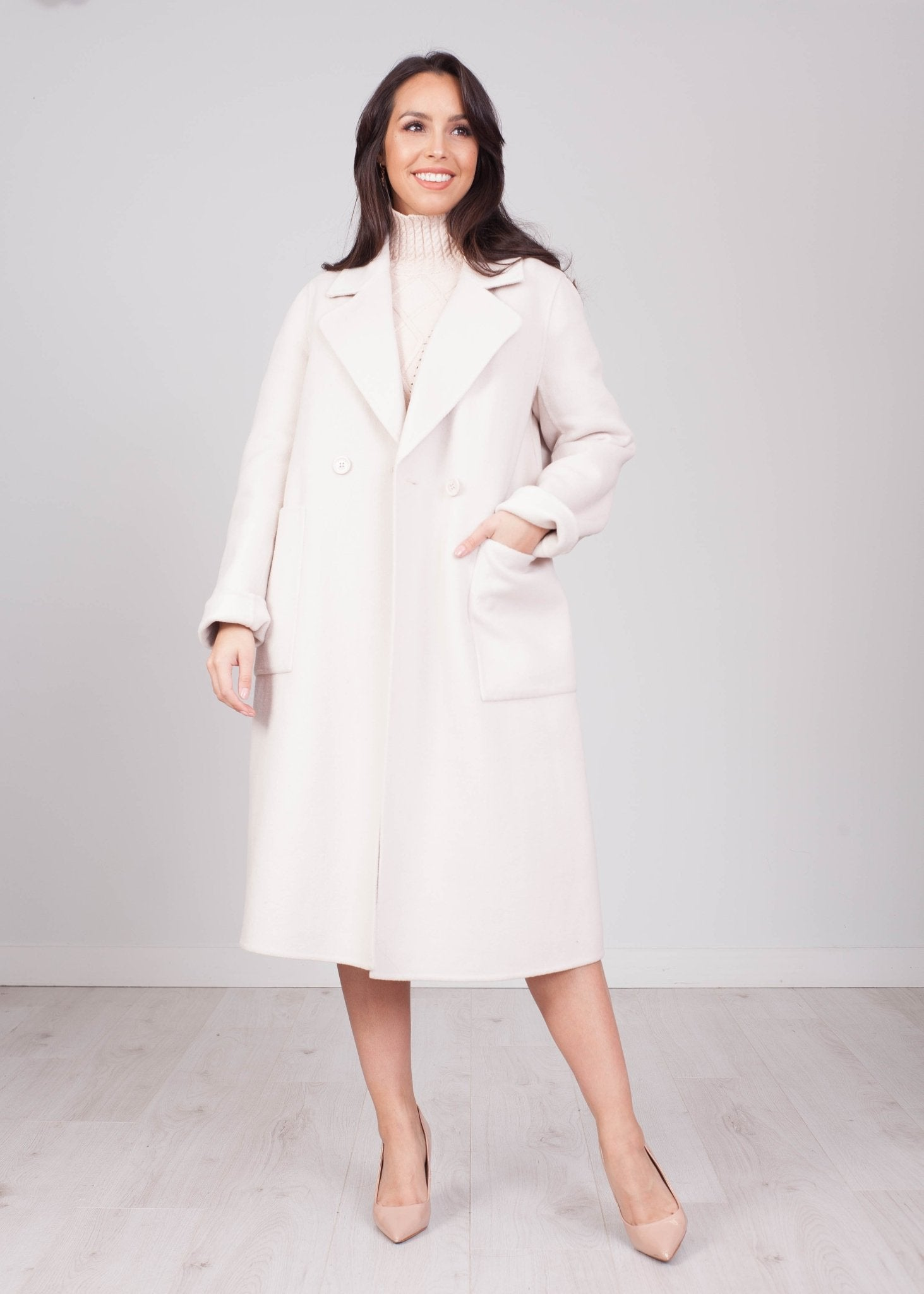 Sophia Cream Longline Coat - The Walk in Wardrobe