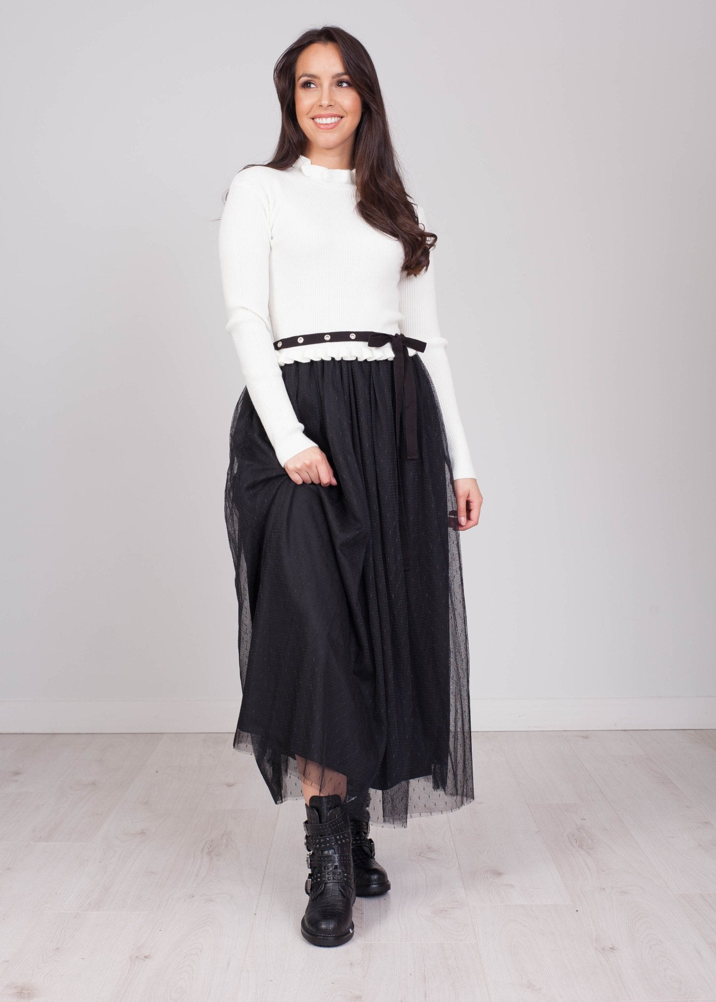Sophia Cream Sweater Dress With Tulle - The Walk in Wardrobe
