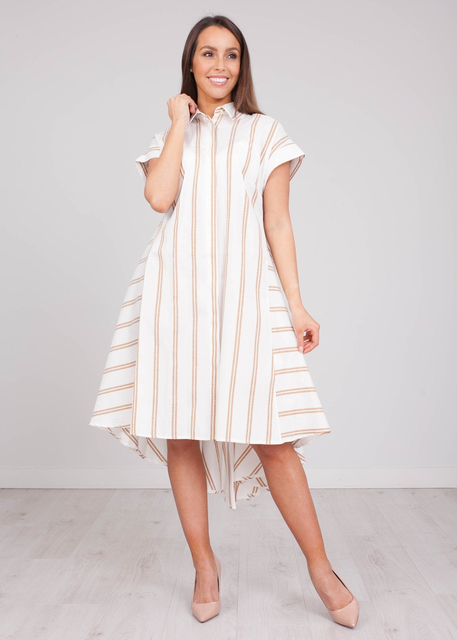 Sophia Cream & Tan Hi-Low Dress - The Walk in Wardrobe