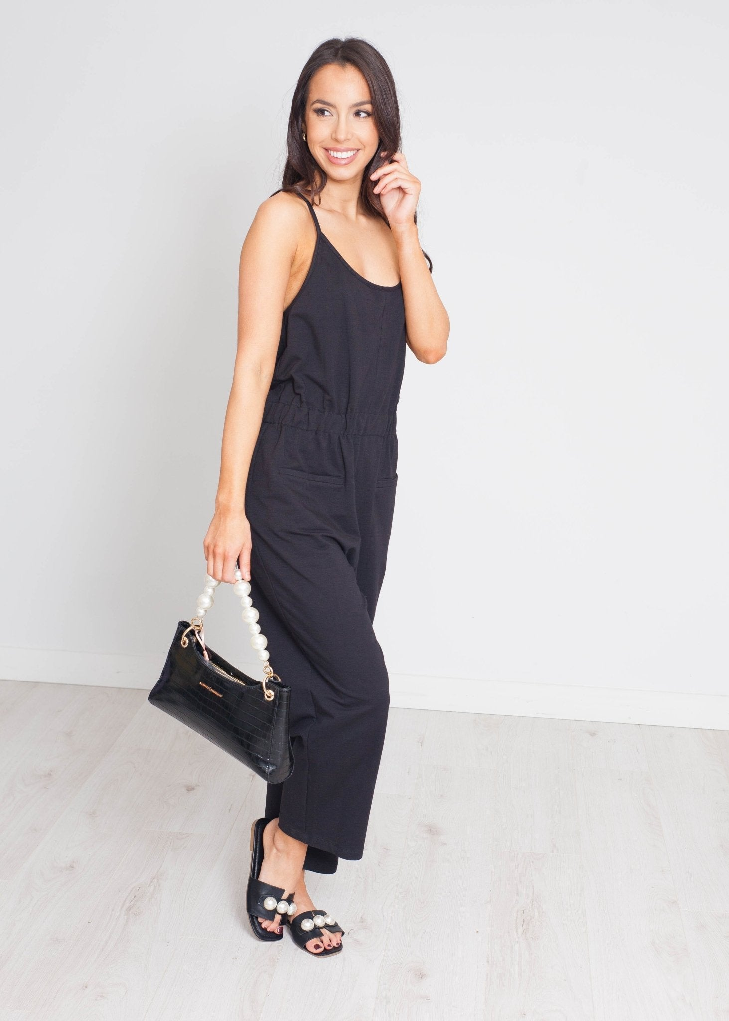 Sophia Drawstring Waist Jumpsuit In Black - The Walk in Wardrobe