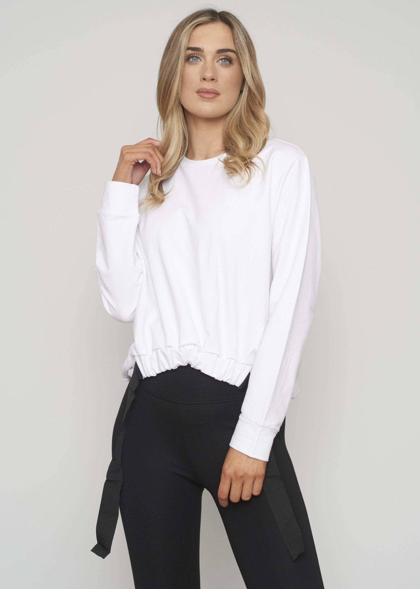 Sophia Drawstring Waist Sweatshirt In White - The Walk in Wardrobe