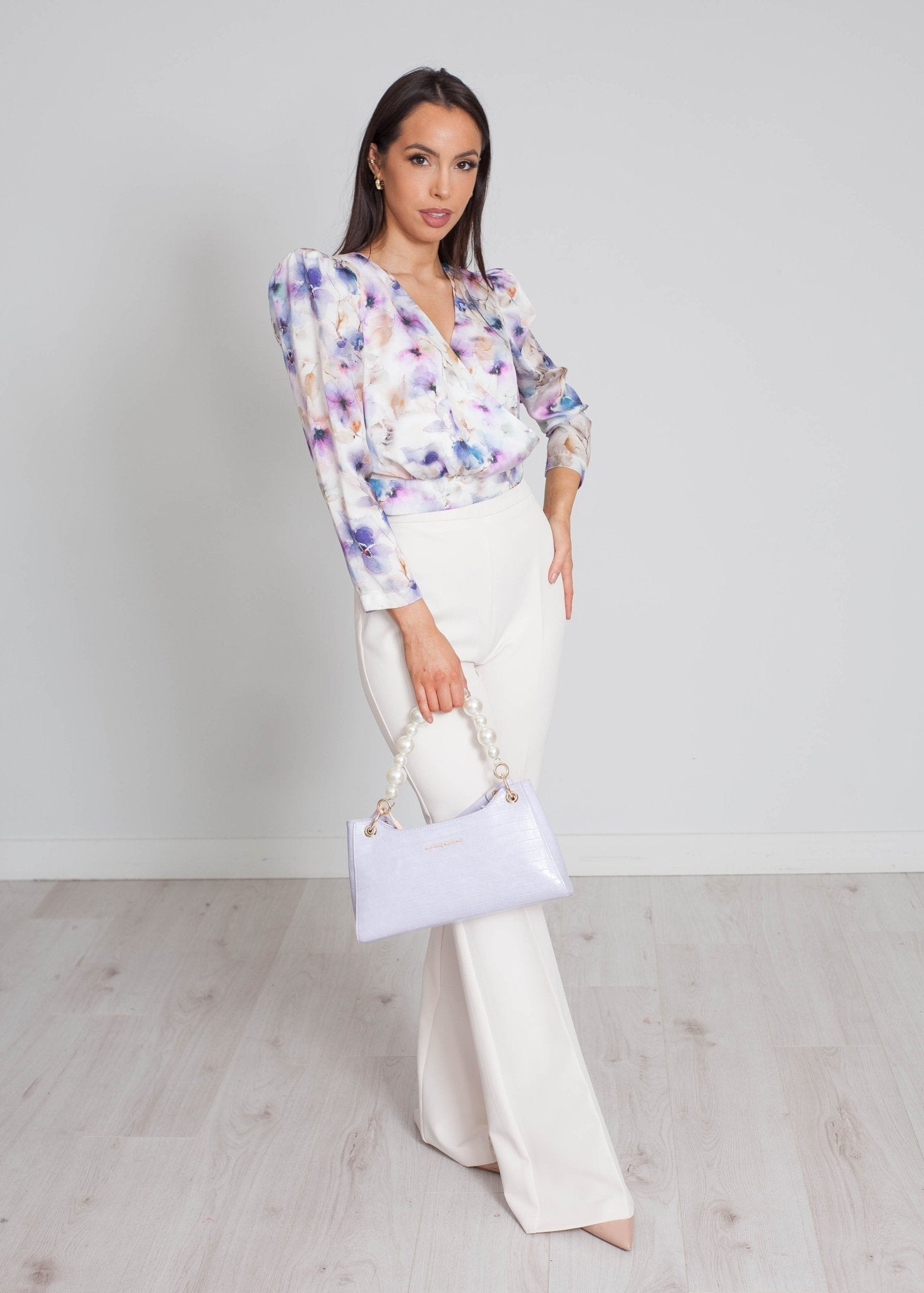 Sophia Flared Trousers In Off White - The Walk in Wardrobe