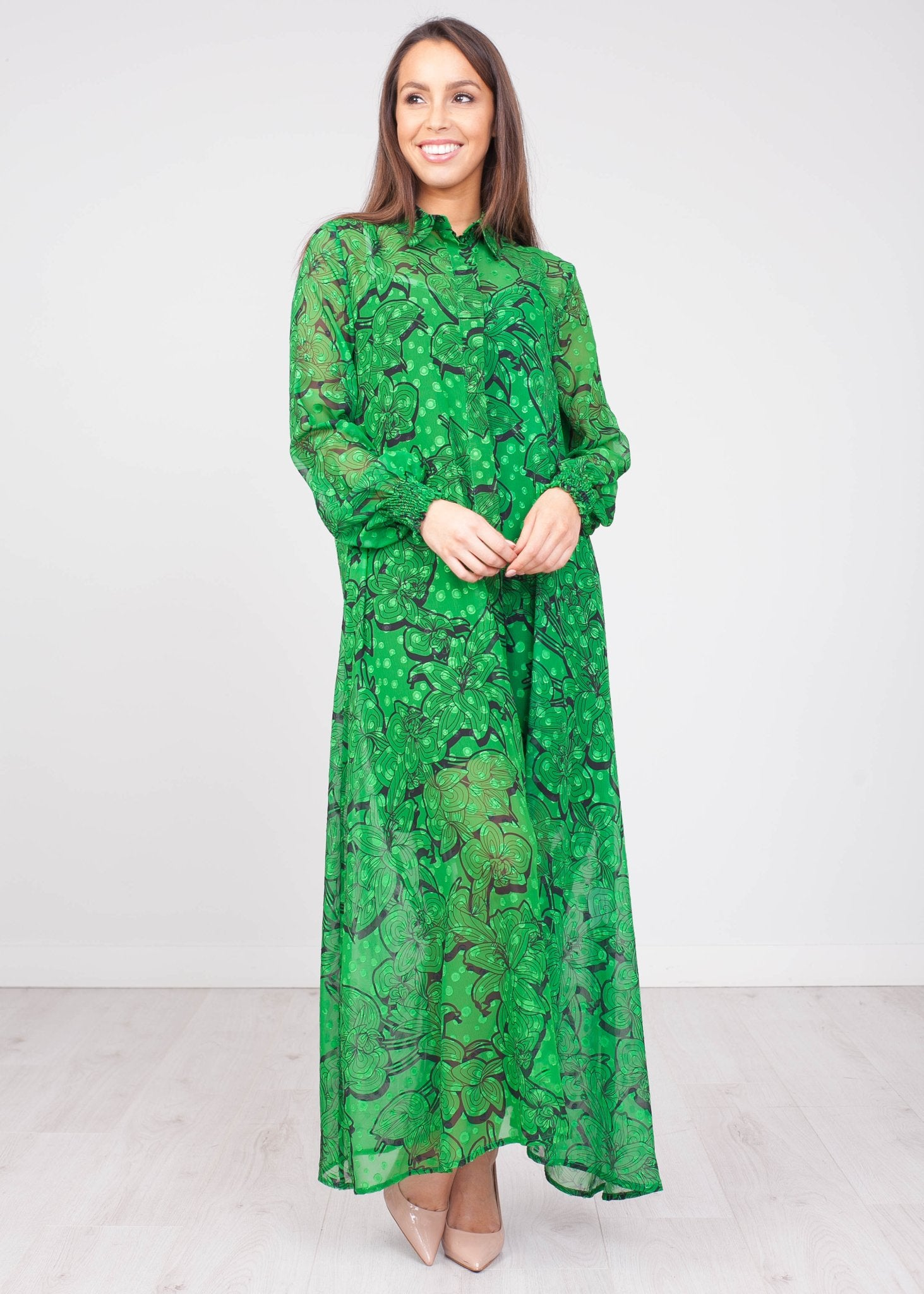 Sophia Green & Black Midi Dress - The Walk in Wardrobe