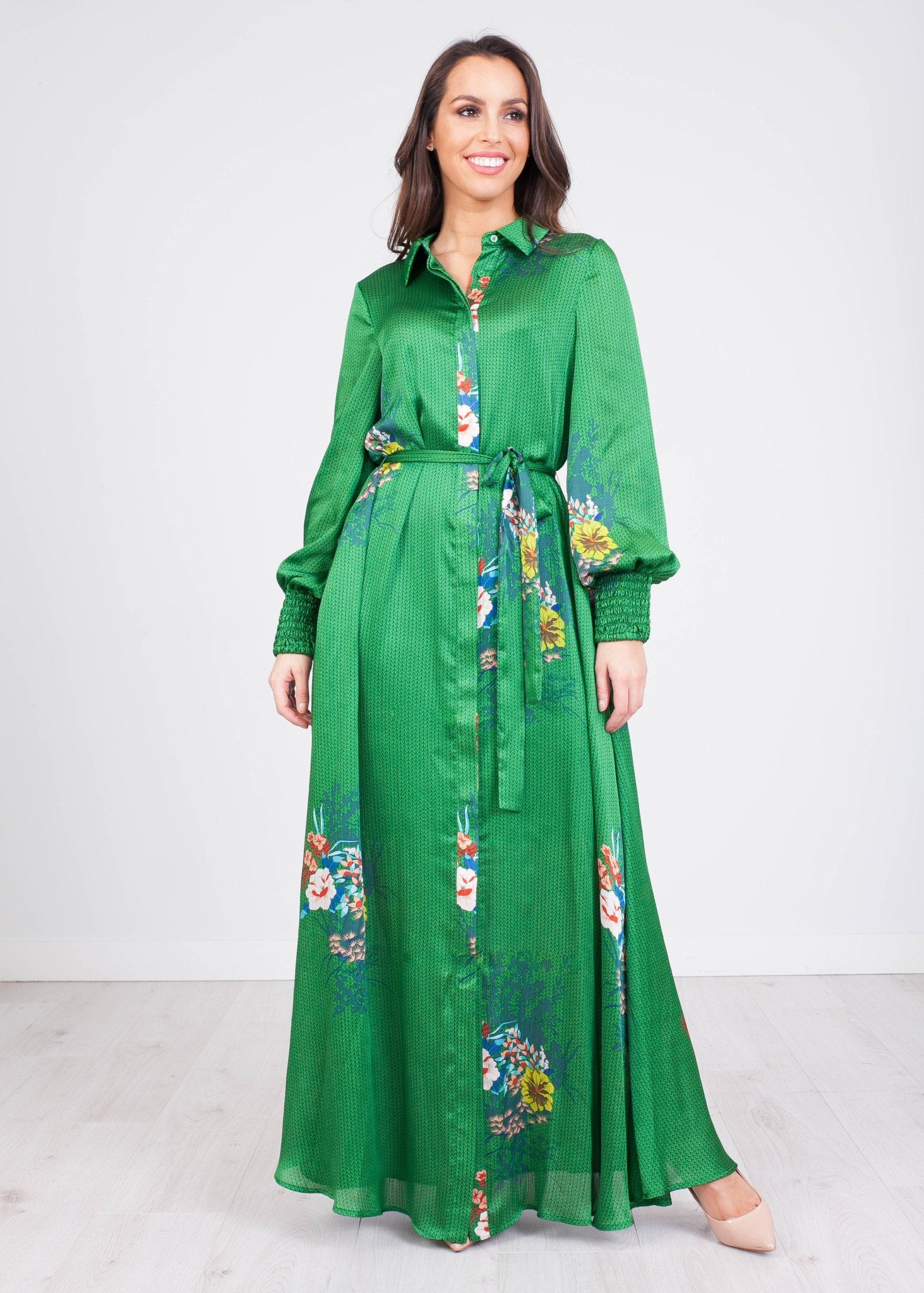Sophia Green Floral Dress - The Walk in Wardrobe