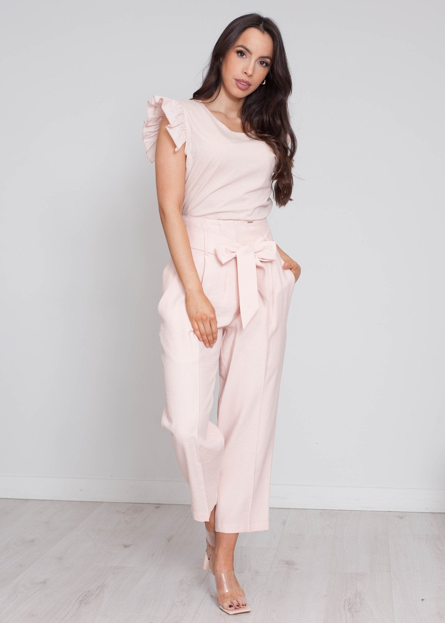 Sophia High Waist Trouser In Blush - The Walk in Wardrobe