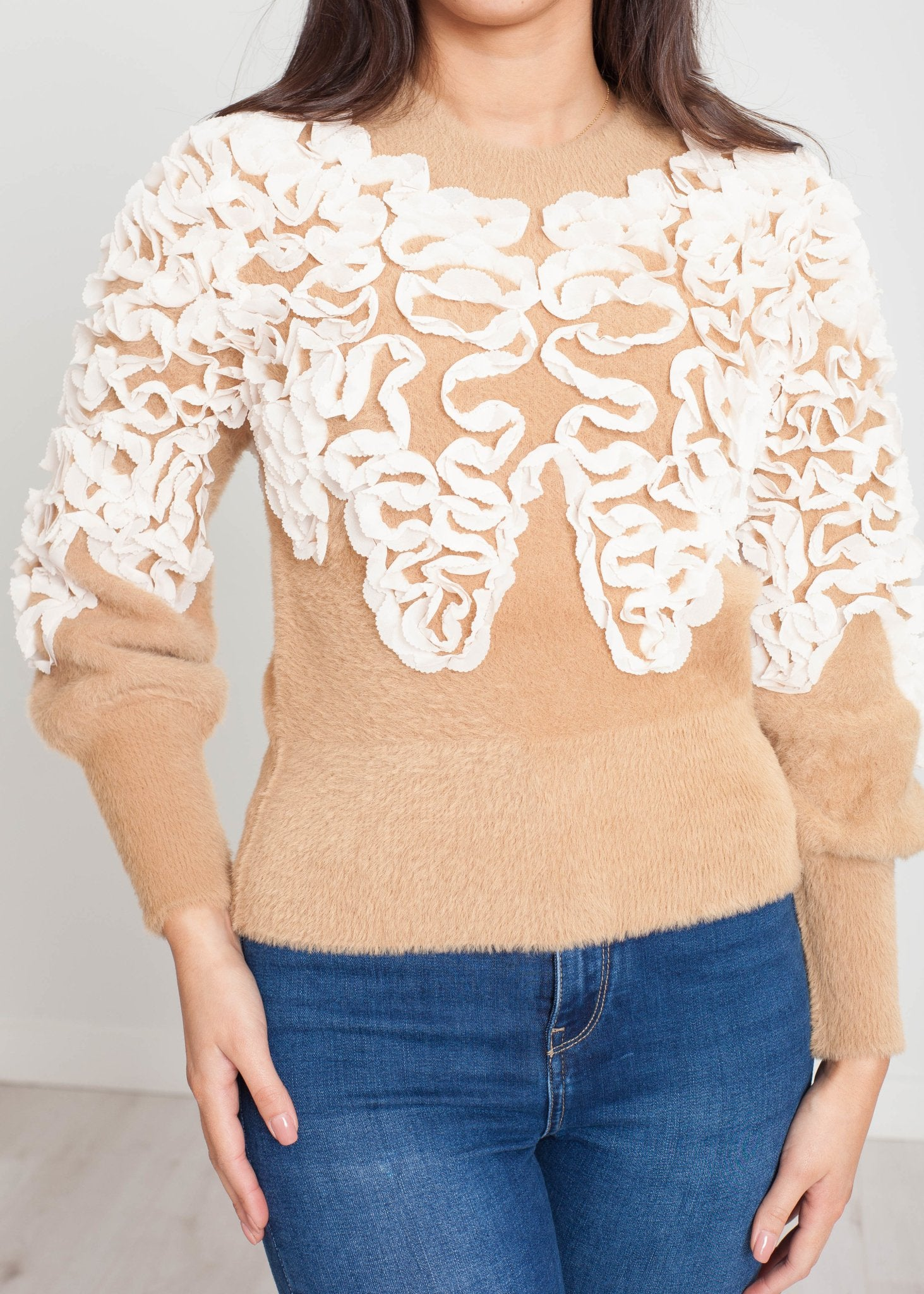 Sophia Jumper With Ruffle In Tan - The Walk in Wardrobe