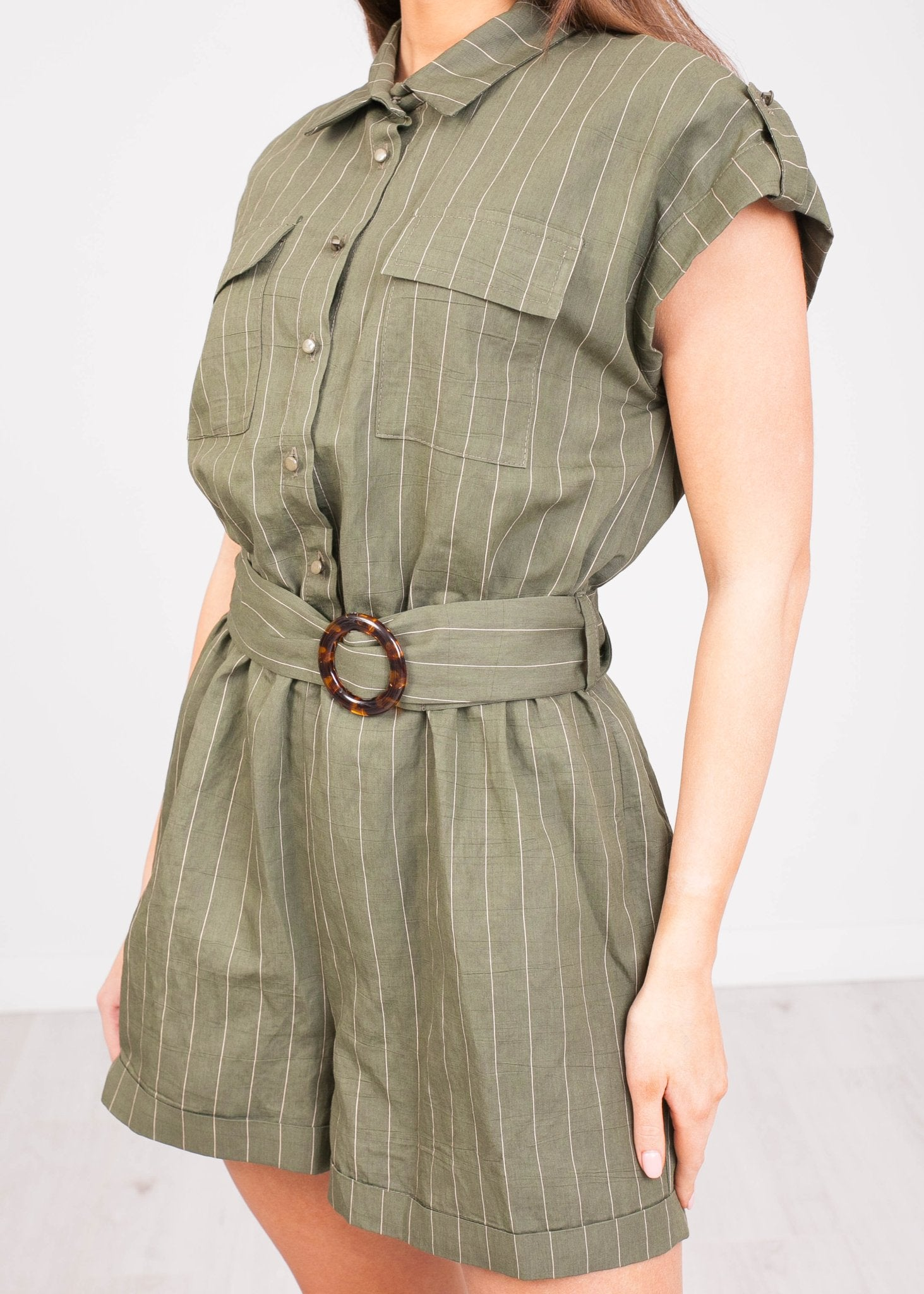 Sophia Khaki Pinstripe Playsuit - The Walk in Wardrobe