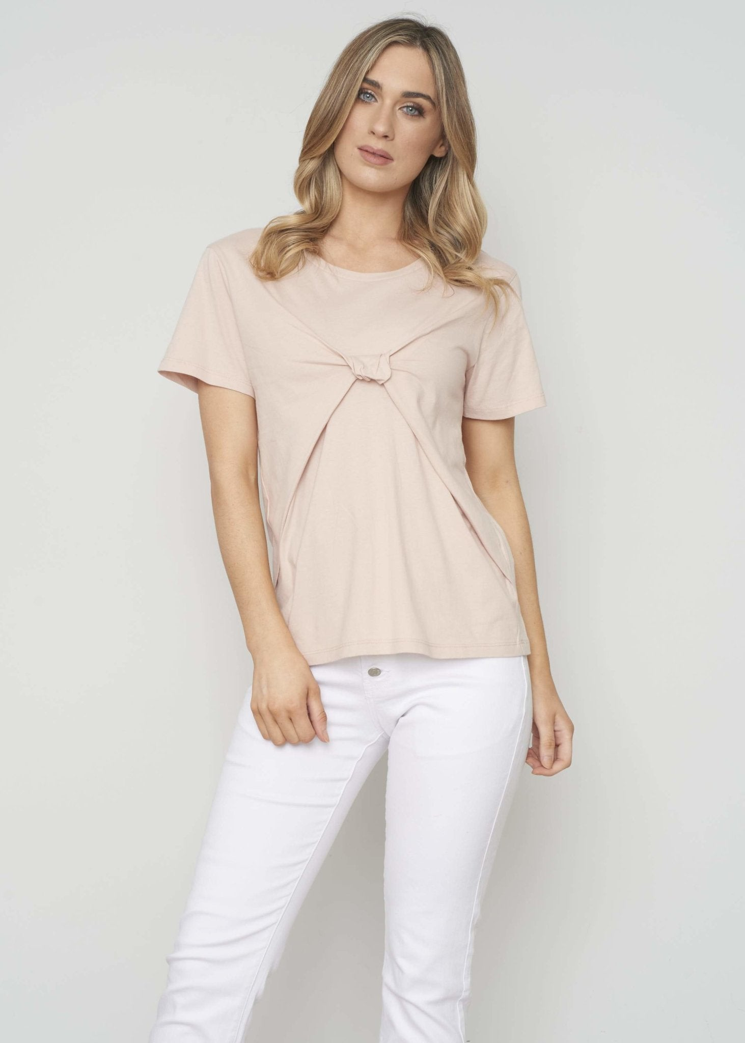 Sophia Knot Front T-Shirt In Blush - The Walk in Wardrobe