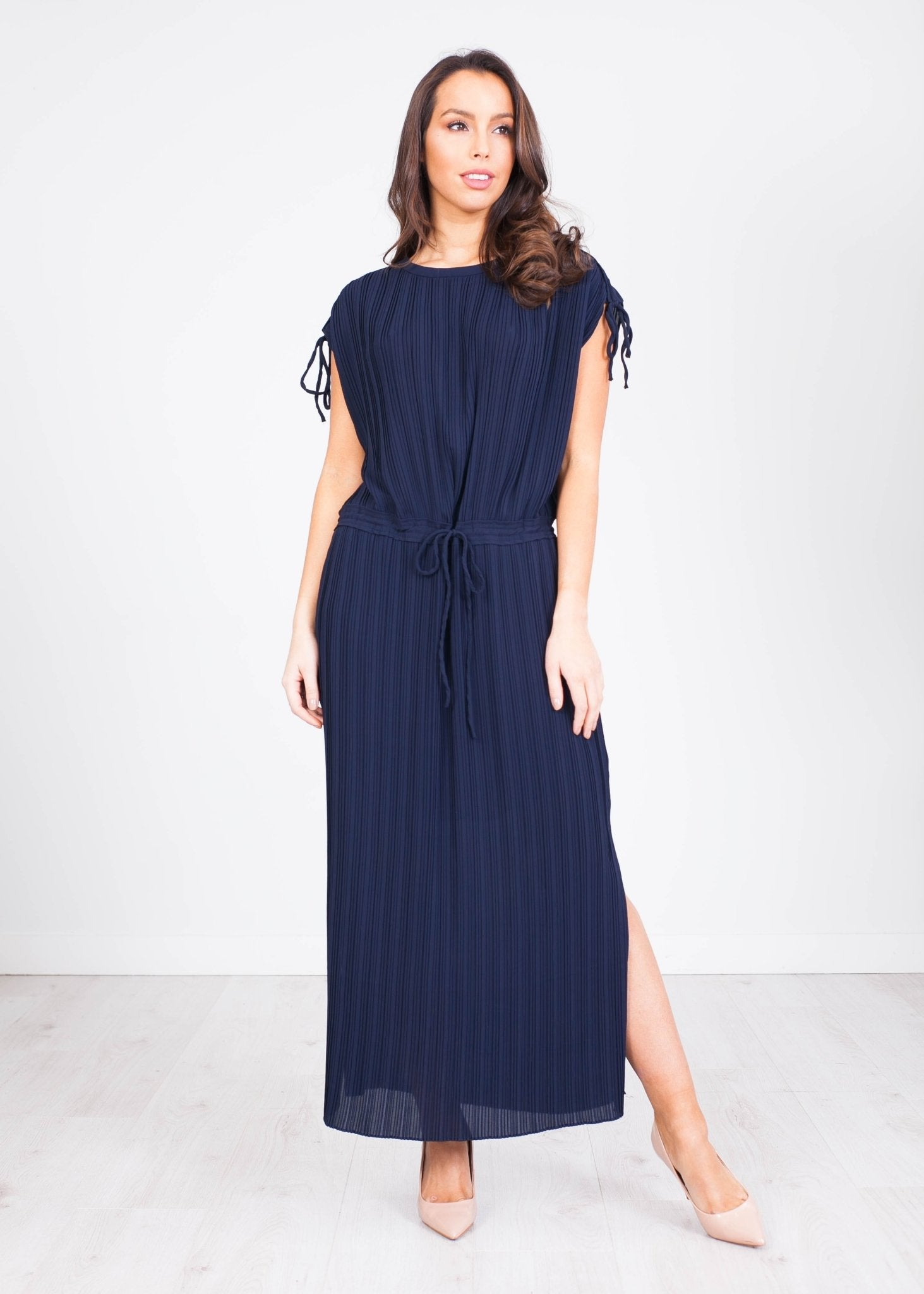 Sophia Navy Pleated Dress - The Walk in Wardrobe