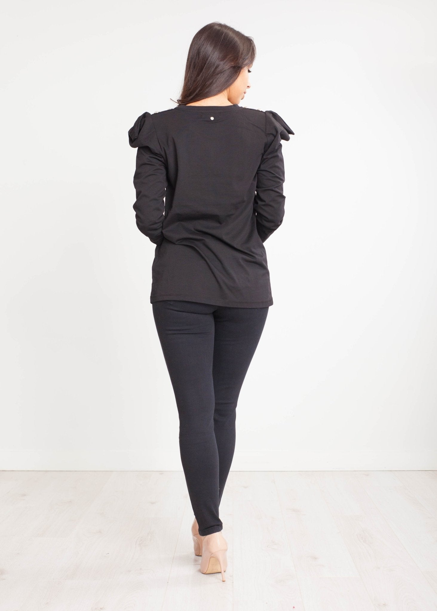 Sophia Padded Shoulder Top In Black - The Walk in Wardrobe