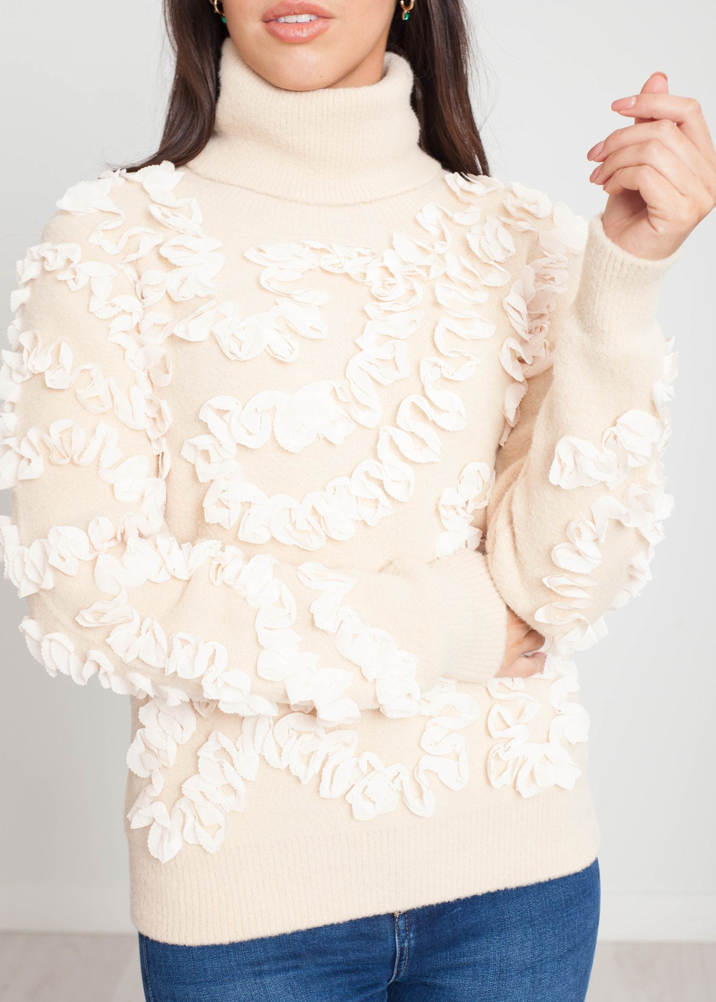 Sophia Polo Neck Frill Knit In Cream - The Walk in Wardrobe
