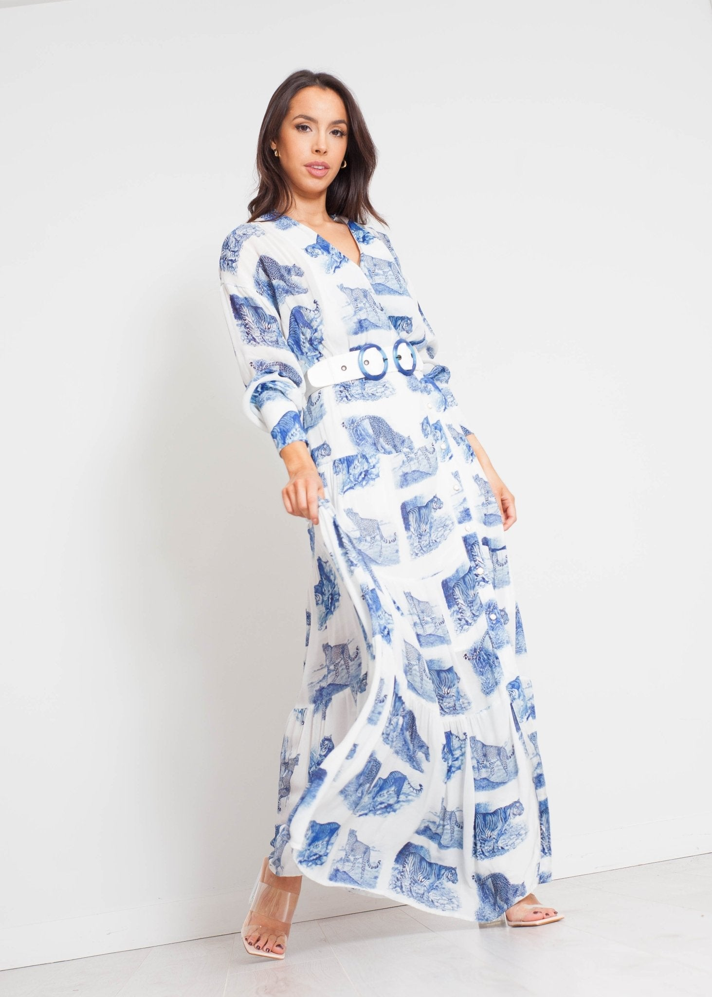 Sophia Printed Maxi Dress In Blue Mix - The Walk in Wardrobe