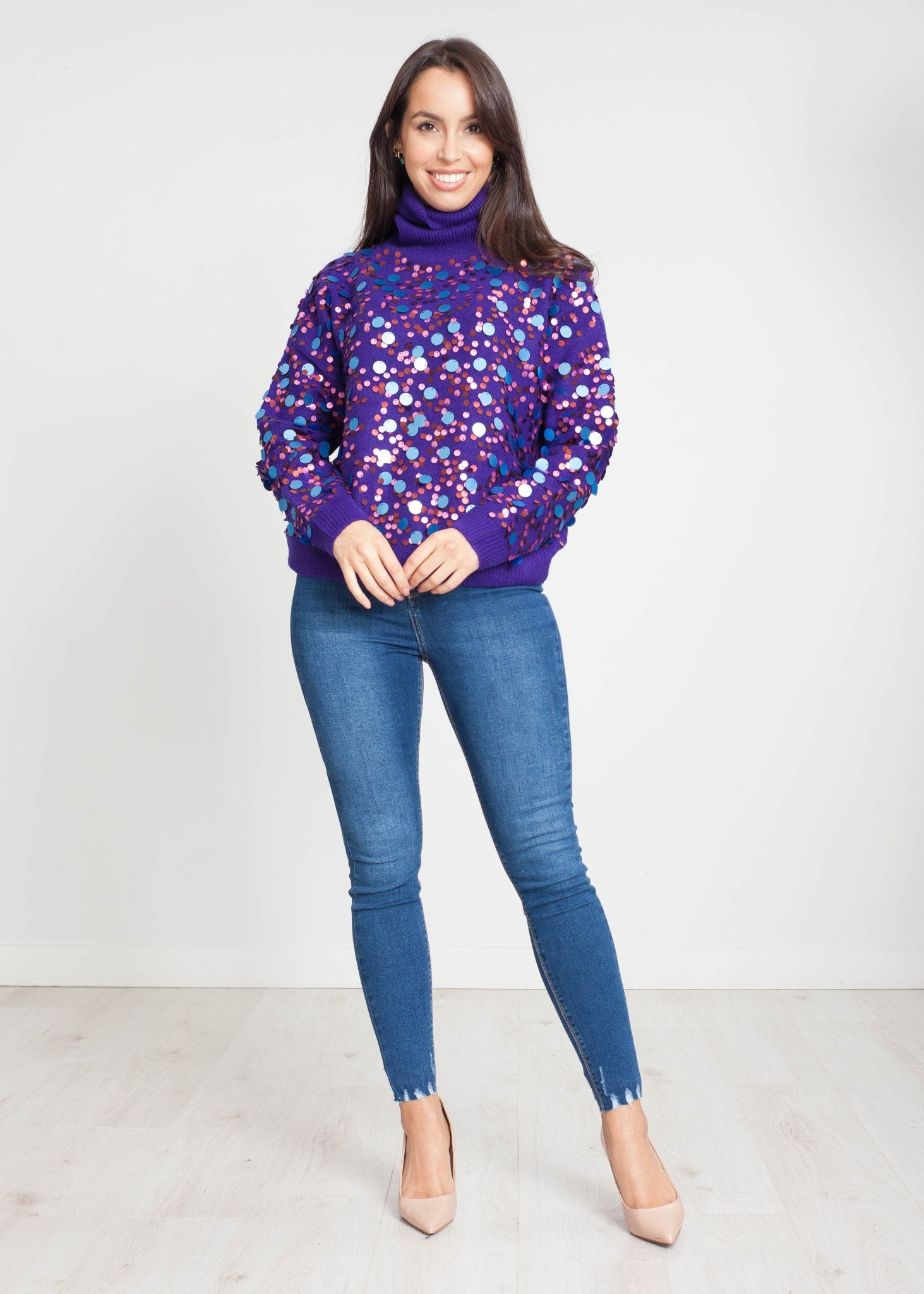 Sophia Sequin Polo Neck In Purple - The Walk in Wardrobe