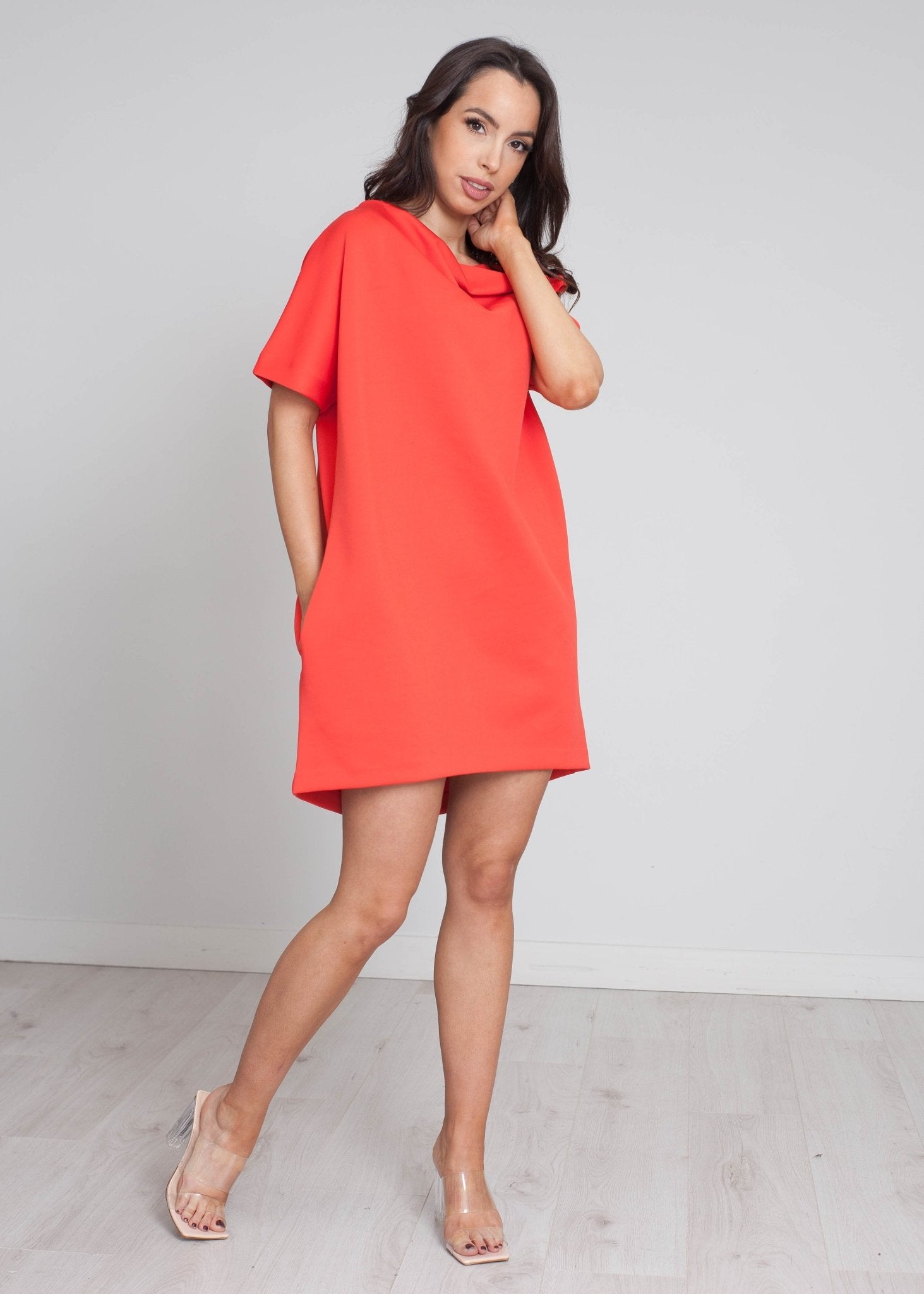 Sophia Slash Neck Mini Dress In Red - The Walk in Wardrobe