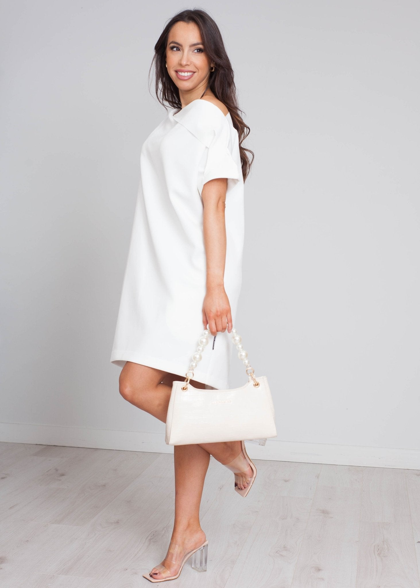 Sophia Slash Neck Mini Dress In White - The Walk in Wardrobe
