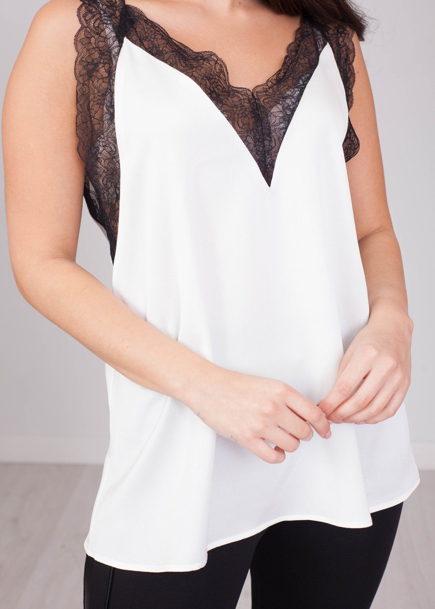 Sophia White & Black Lace Cami - The Walk in Wardrobe