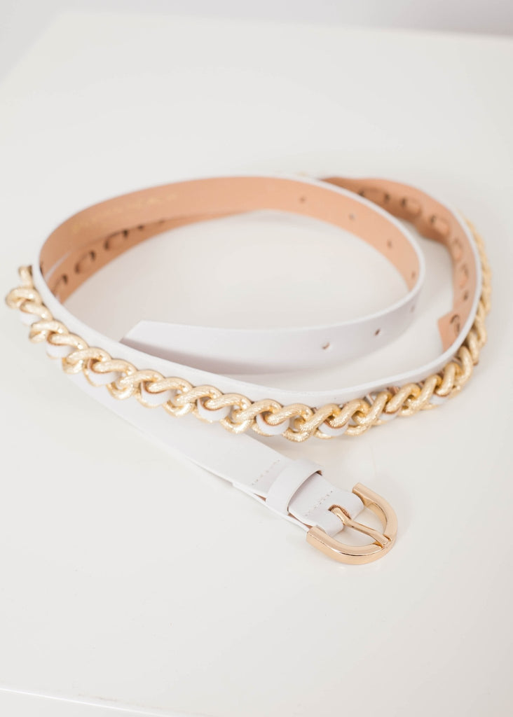 Sophia White Chain Belt - The Walk in Wardrobe