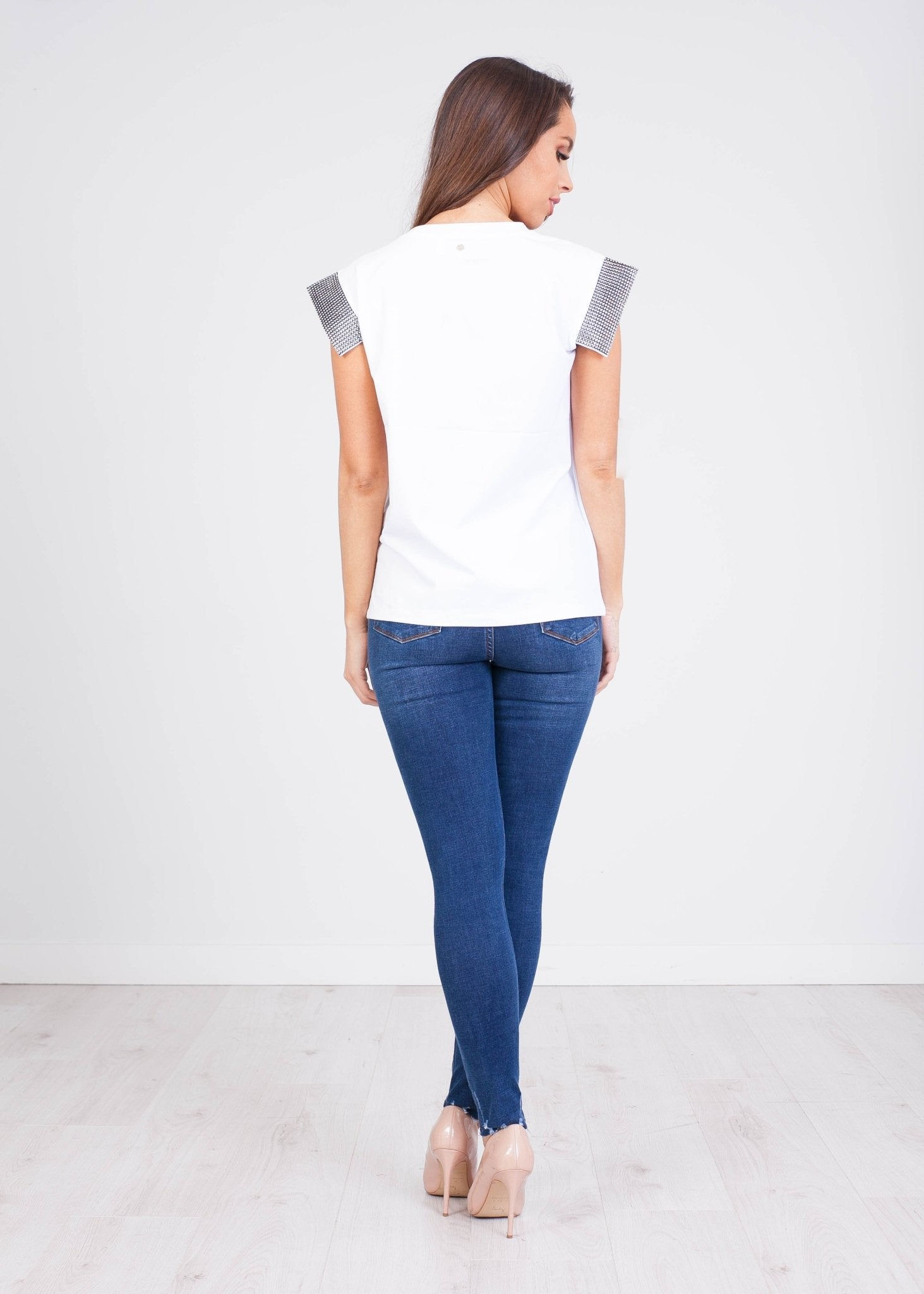 Sophia White Tee With Sleeve Detail - The Walk in Wardrobe