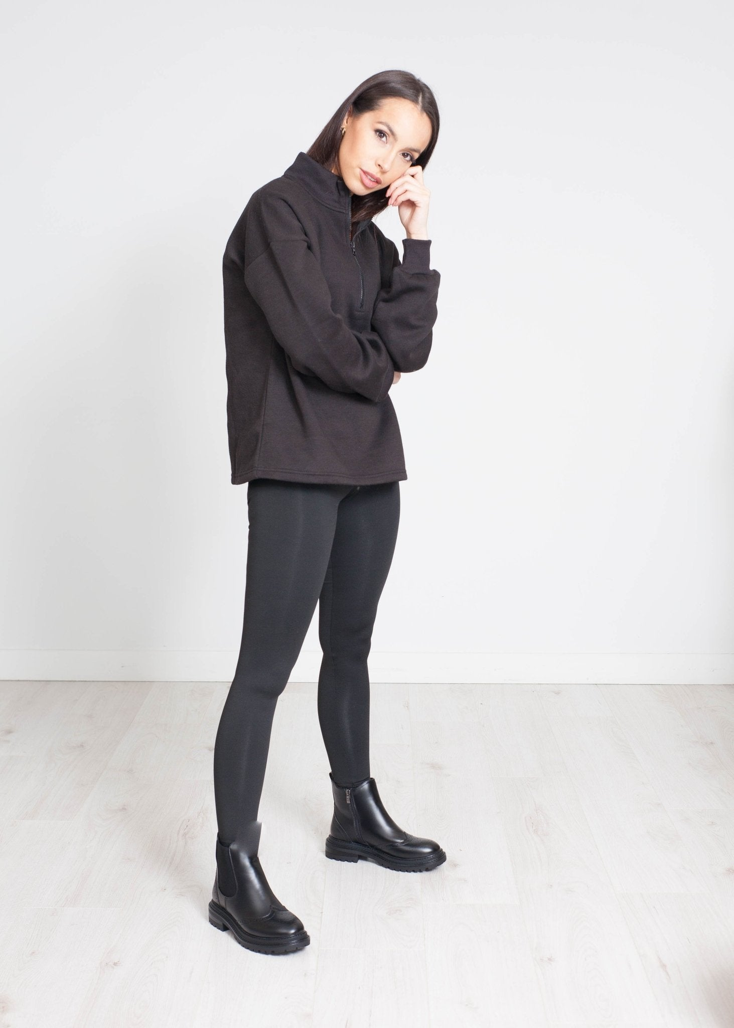 Stella Half Zip Sweatshirt In Black - The Walk in Wardrobe