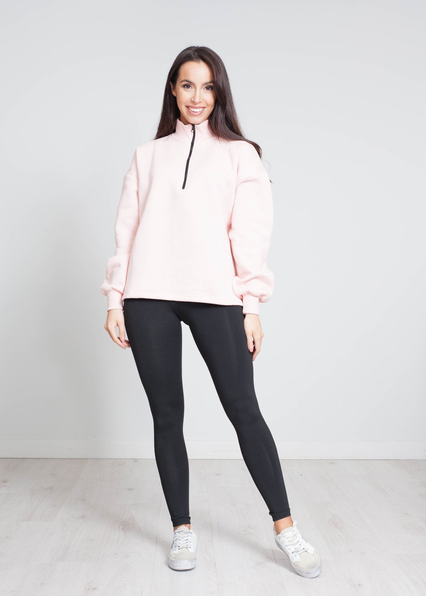 Stella Half Zip Sweatshirt In Pink - The Walk in Wardrobe