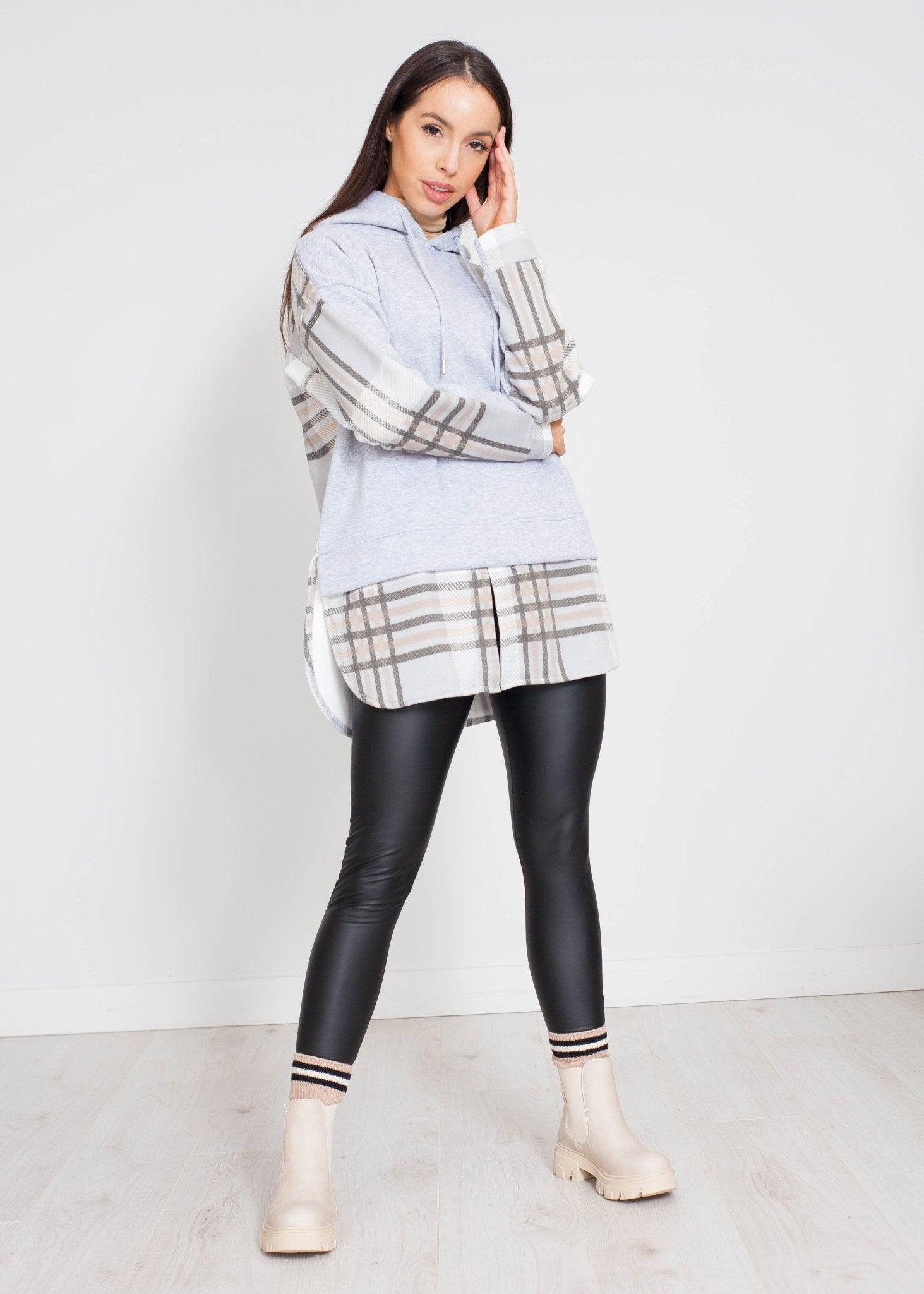 Stella Hoodie In Grey Check - The Walk in Wardrobe